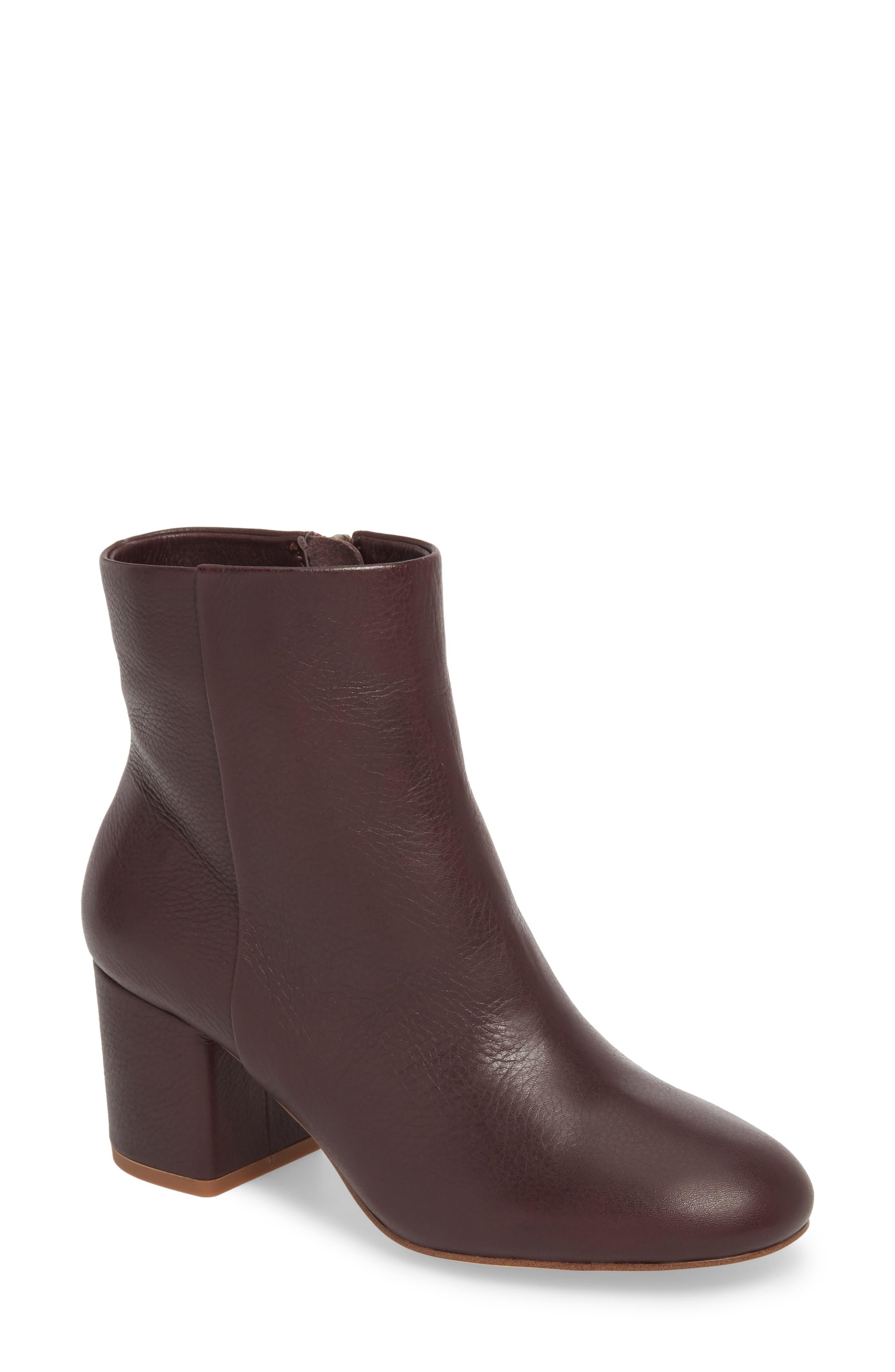 Nixie II Bootie,                         Main,                         color, Deep Plum Leather