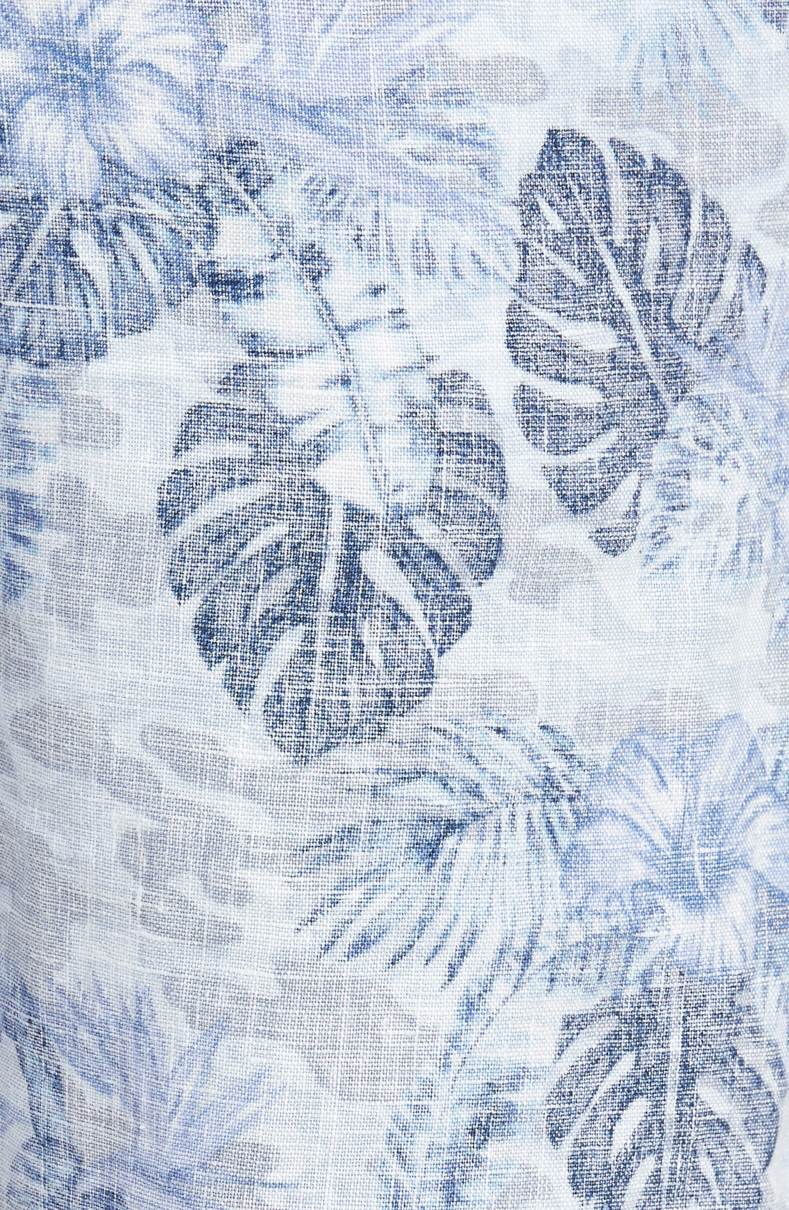 Tidal Palms Linen Shorts,                             Alternate thumbnail 5, color,                             Med Sky Blue
