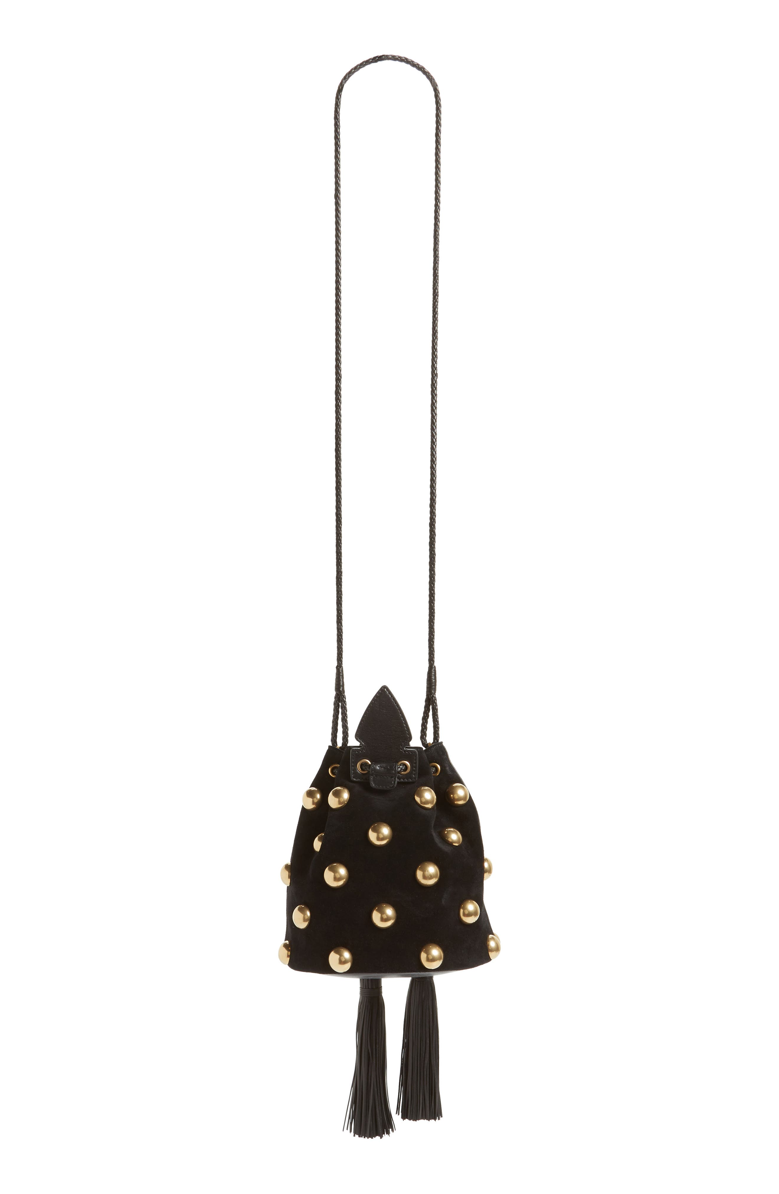Small Anja Studded Leather Bucket Bag,                             Alternate thumbnail 3, color,                             Nero/ Nero