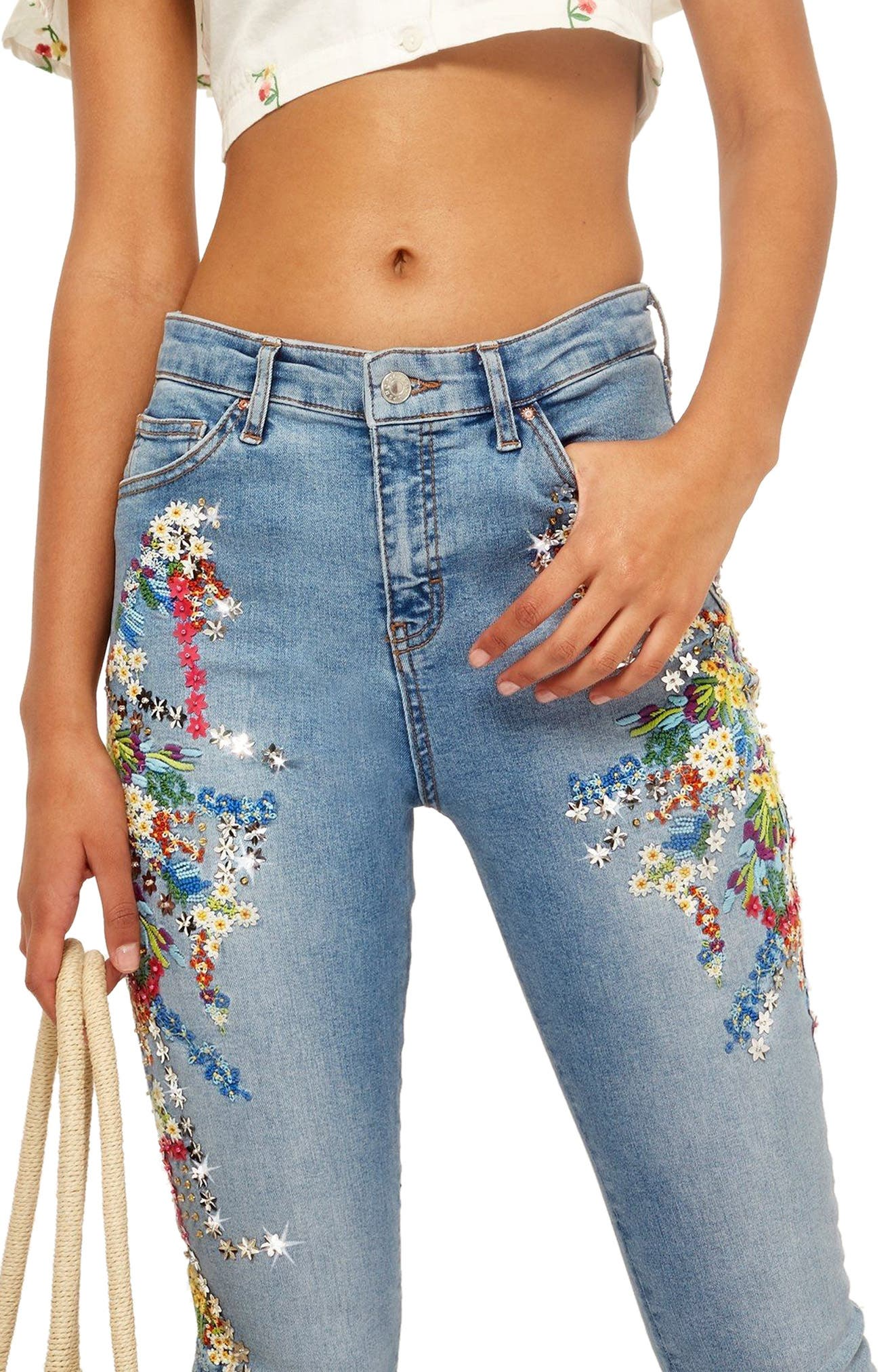 Topshop MOTO Jamie Ditsy Embroidered Jeans
