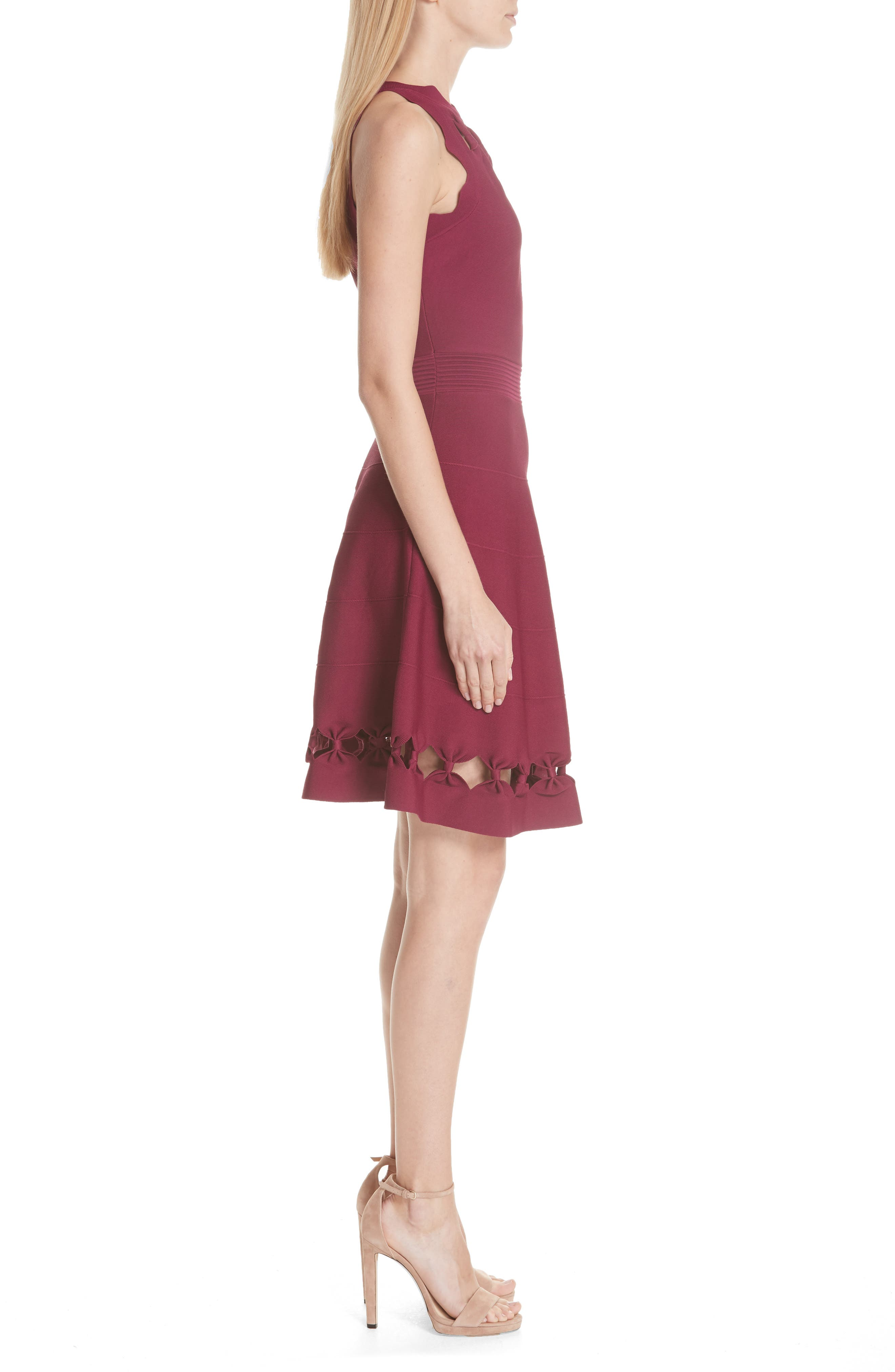 Cherina Bow Detail Fit & Flare Knit Dress,                             Alternate thumbnail 3, color,                             Maroon