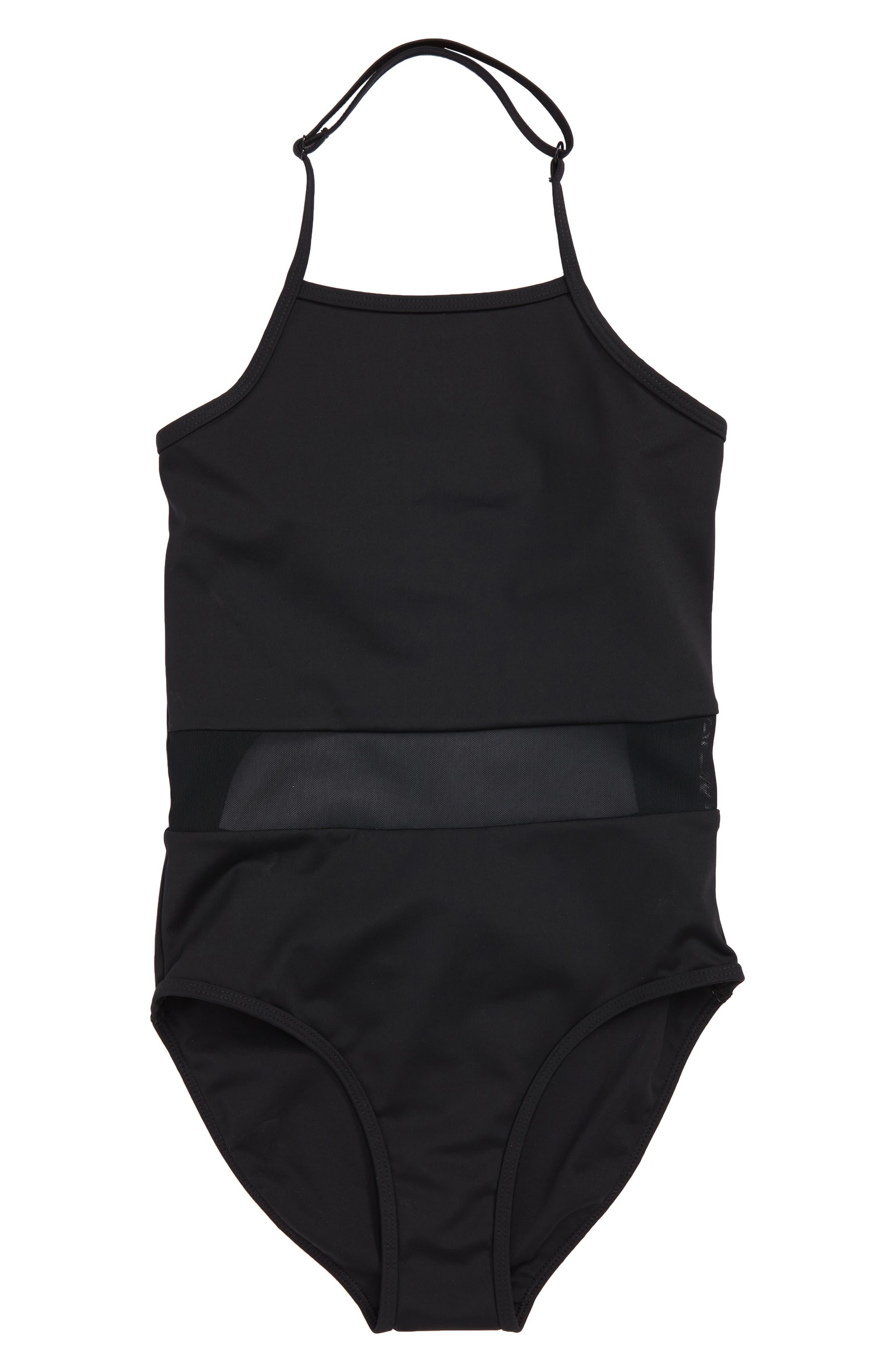 Horizon Mesh Inset One-Piece Swimsuit,                             Main thumbnail 1, color,                             Black