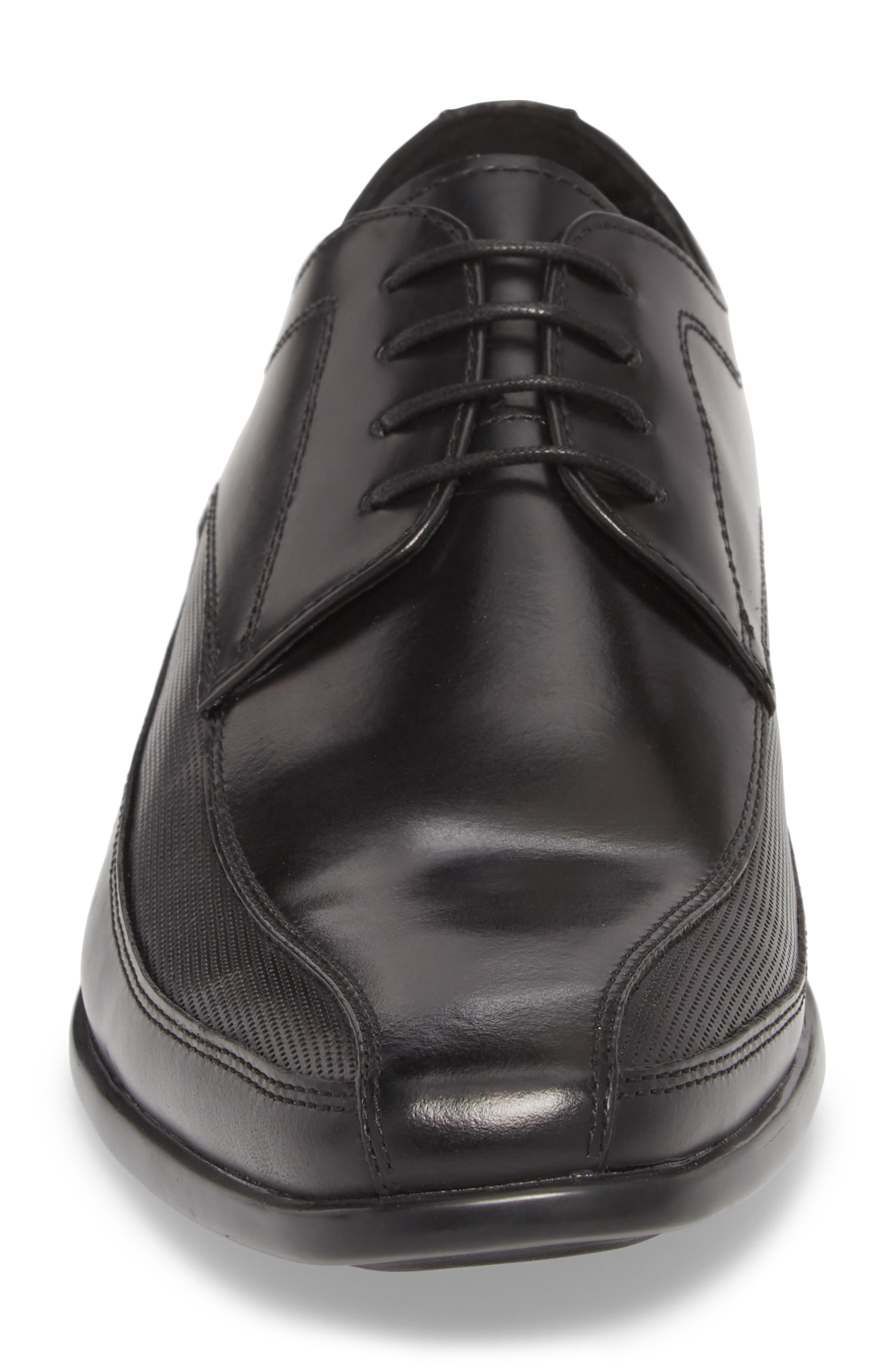 Extra Distance Bike Toe Derby,                             Alternate thumbnail 4, color,                             Black Leather