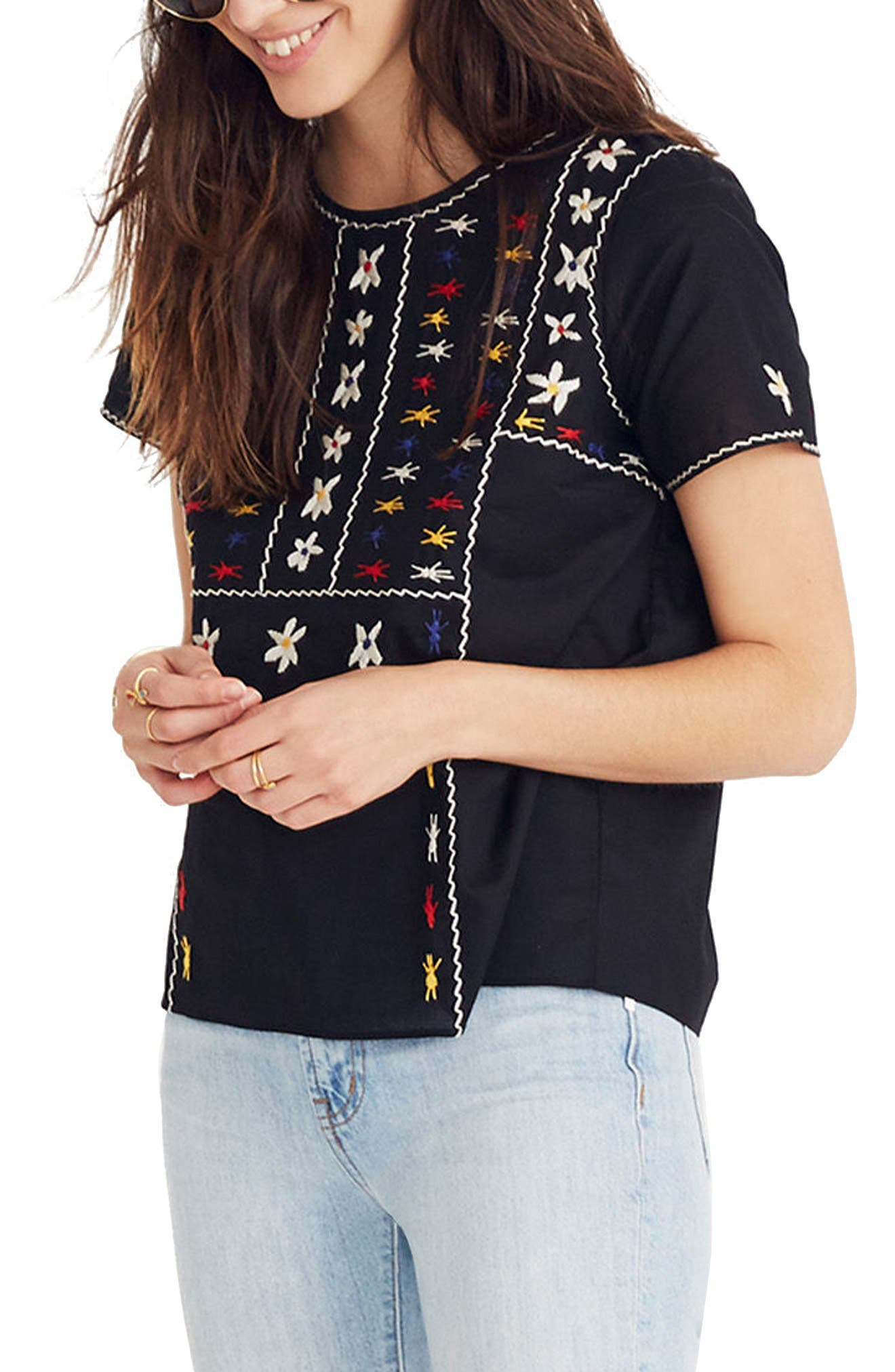 Embroidered Tie Back Cutout Top,                             Main thumbnail 1, color,                             True Black