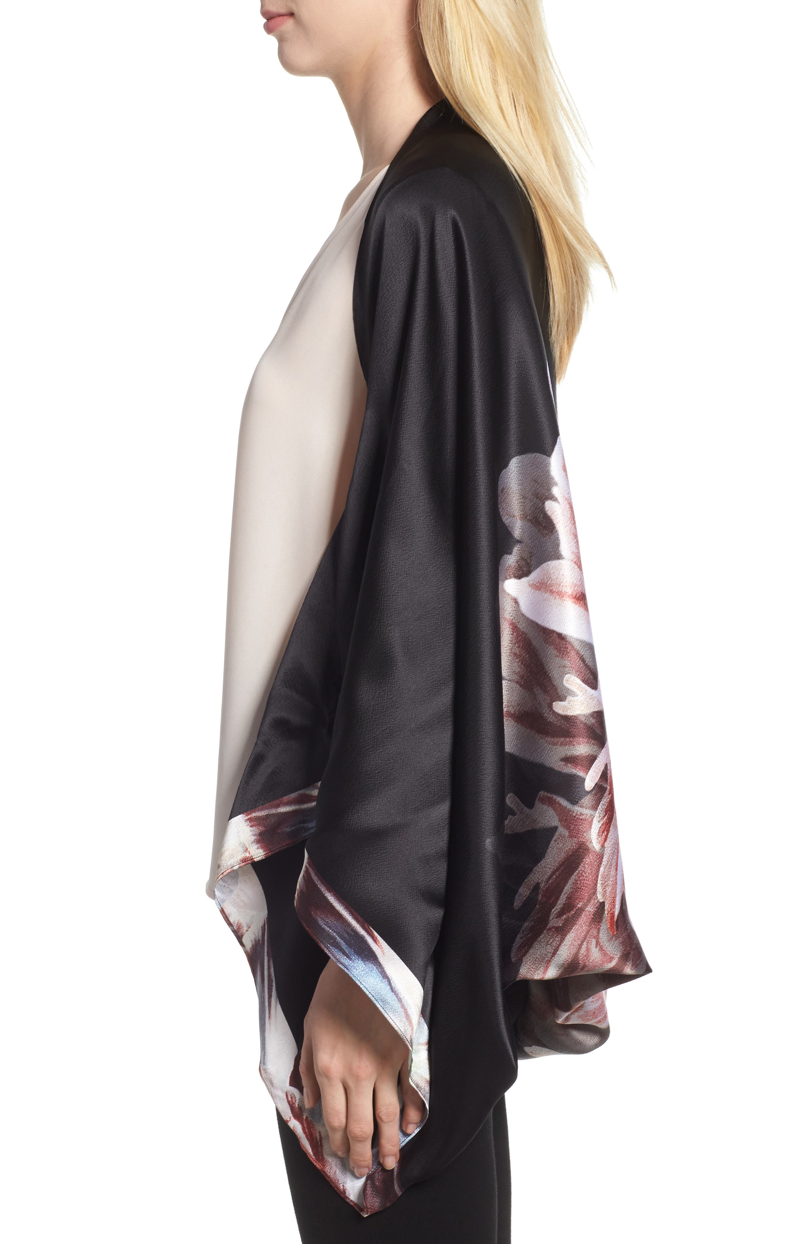 Tranquility Silk Cape Scarf,                             Alternate thumbnail 3, color,                             Black