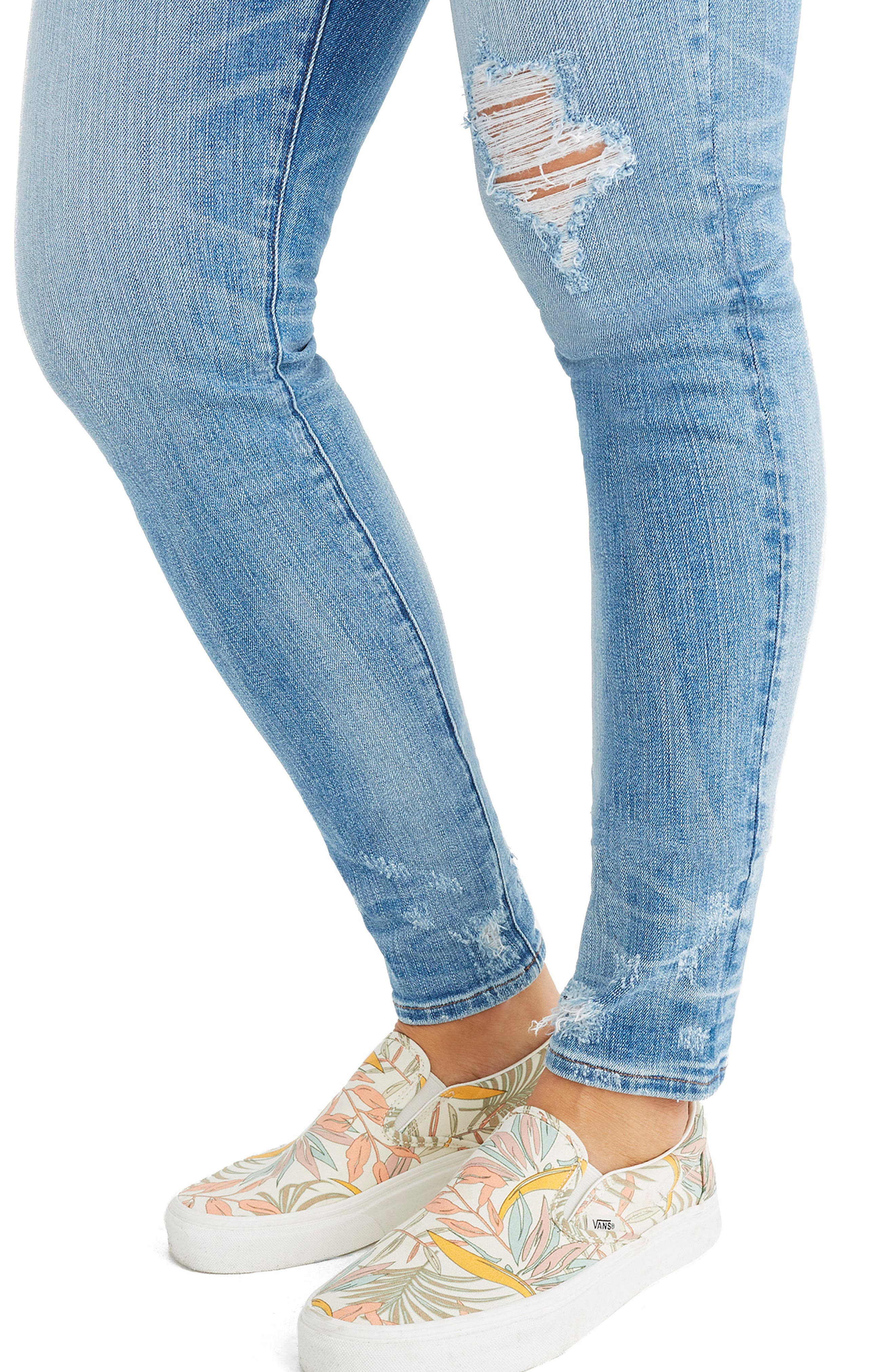 9-Inch Destructed Hem High Waist Skinny Jeans,                             Alternate thumbnail 4, color,                             Cliff Wash