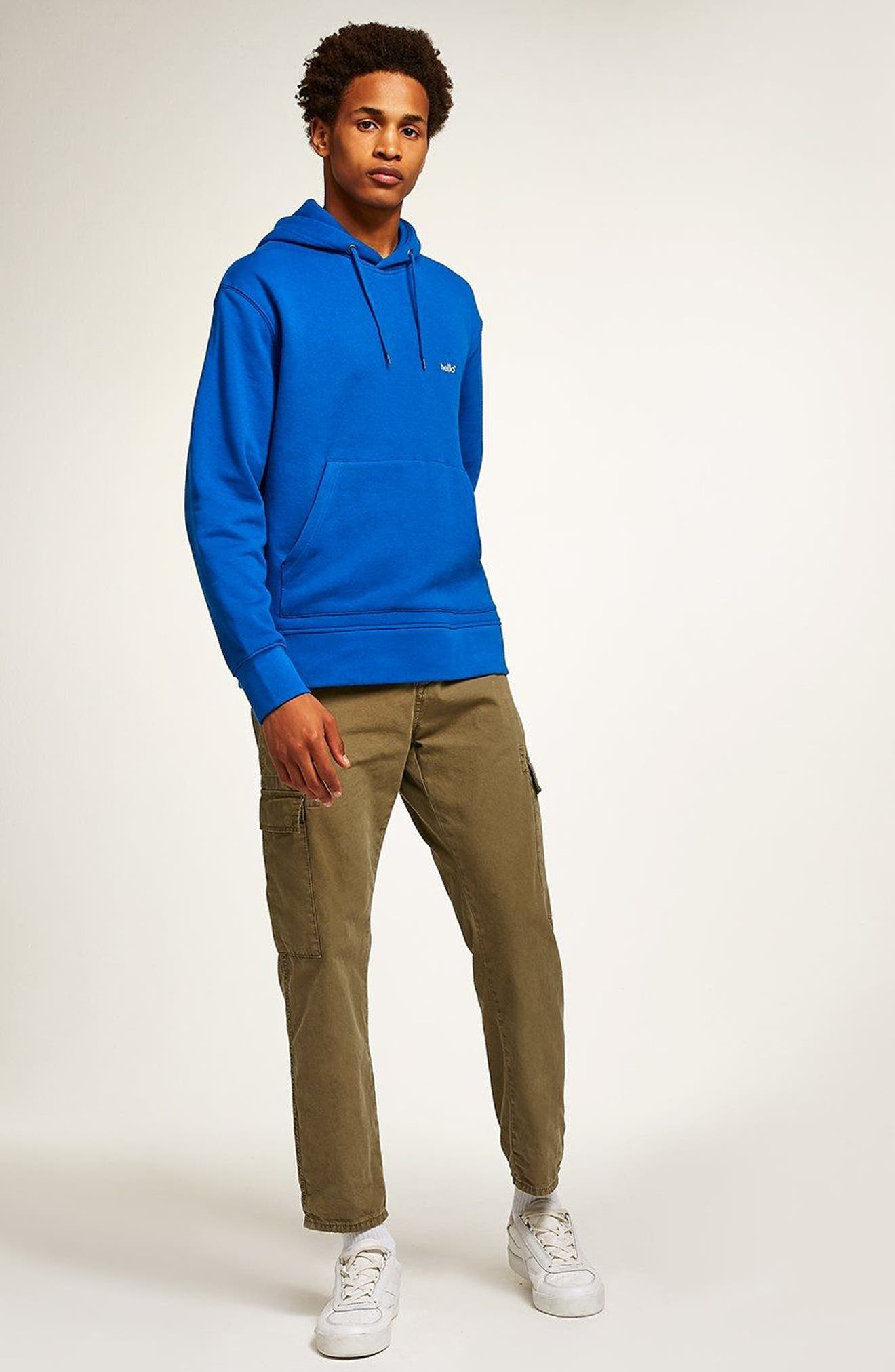 Classic Fit Tristan Hello Embroidered Hoodie,                             Alternate thumbnail 5, color,                             Blue Multi