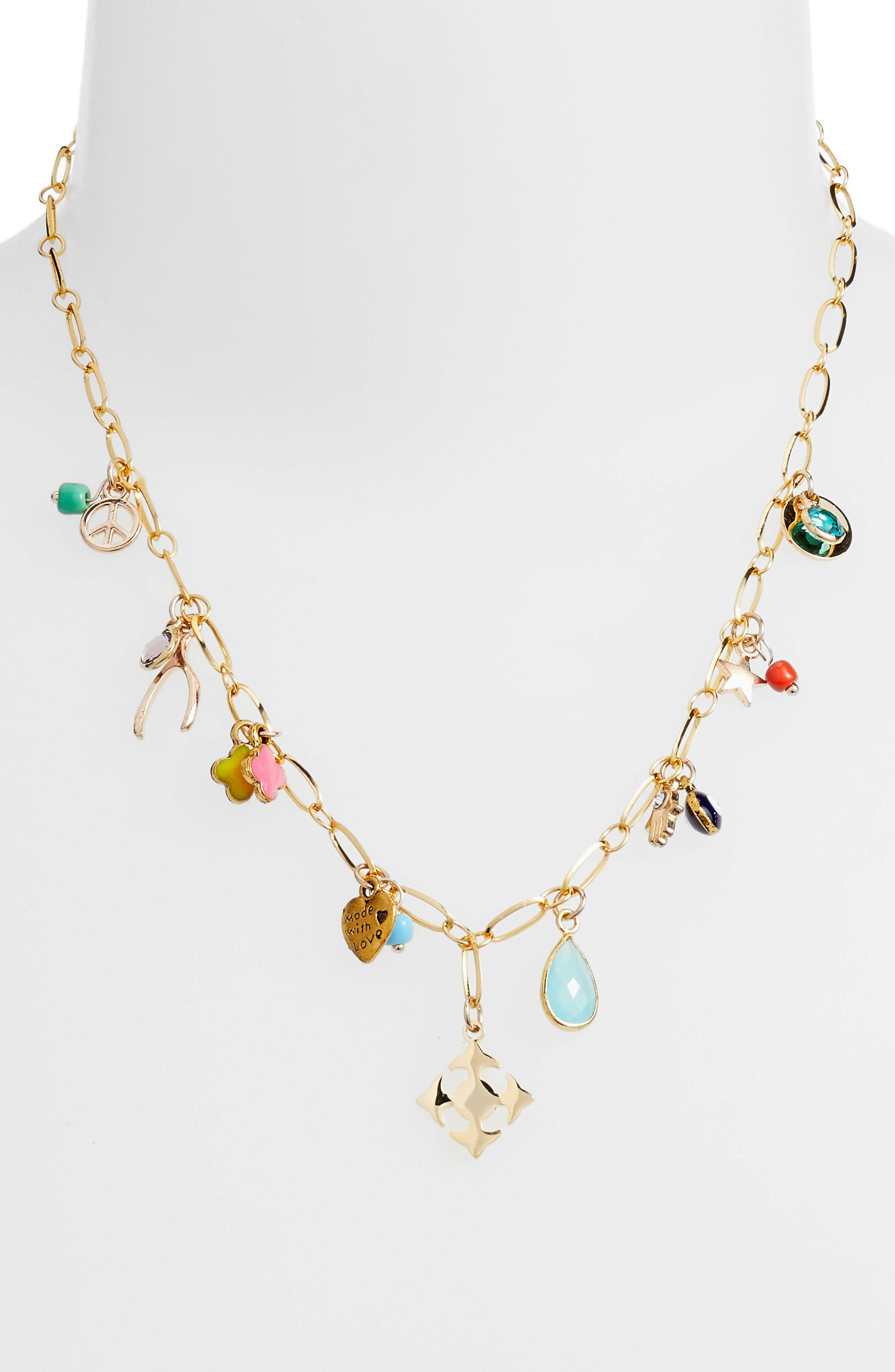 Lala Charm Necklace,                             Alternate thumbnail 2, color,                             Gold