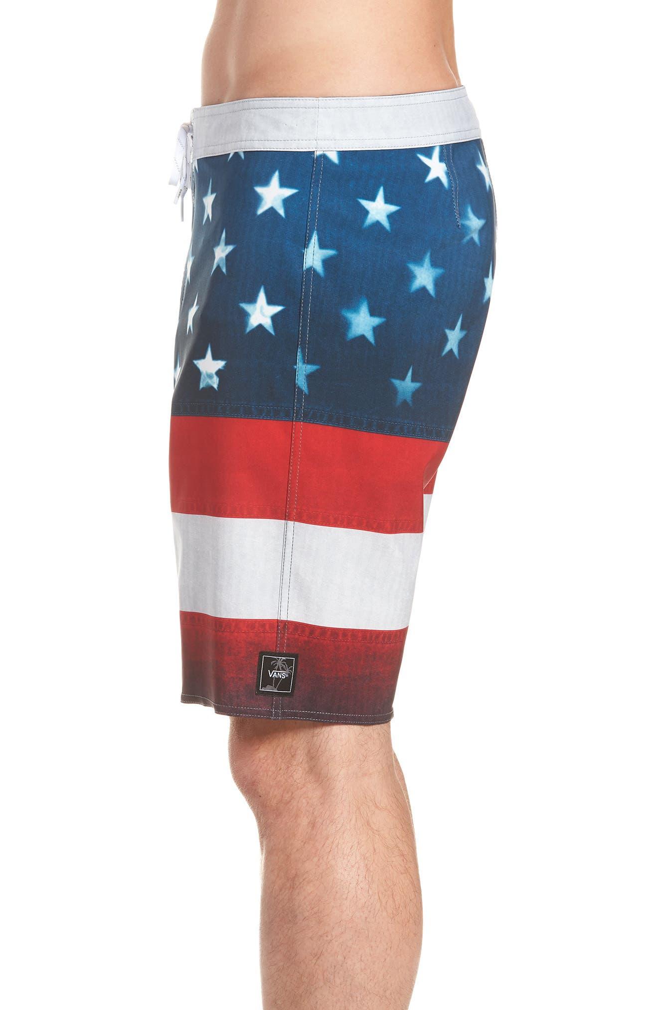 Era Board Shorts,                             Alternate thumbnail 3, color,                             American Flag