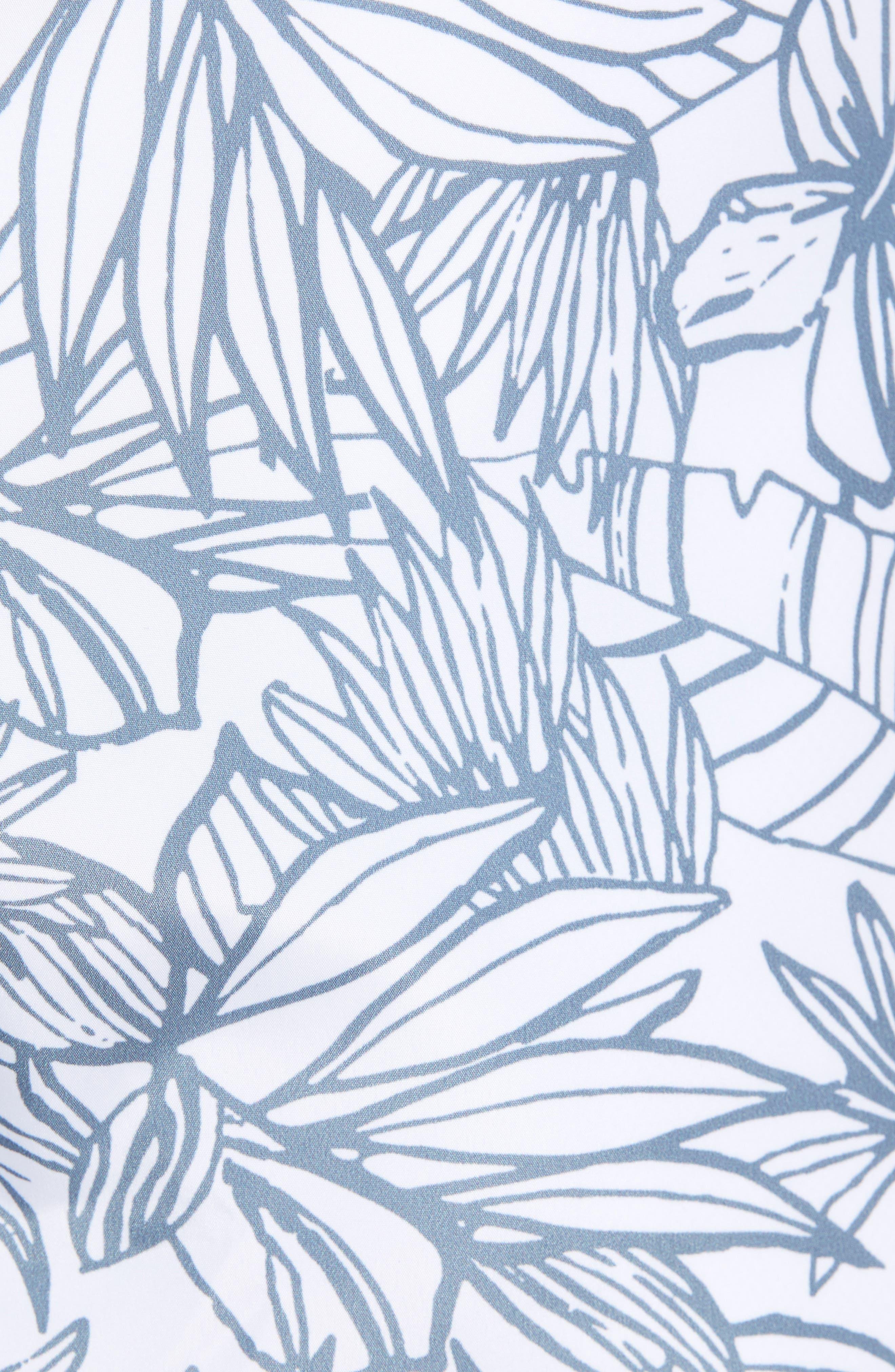 Needlefish Palm Swim Trunks,                             Alternate thumbnail 5, color,                             White