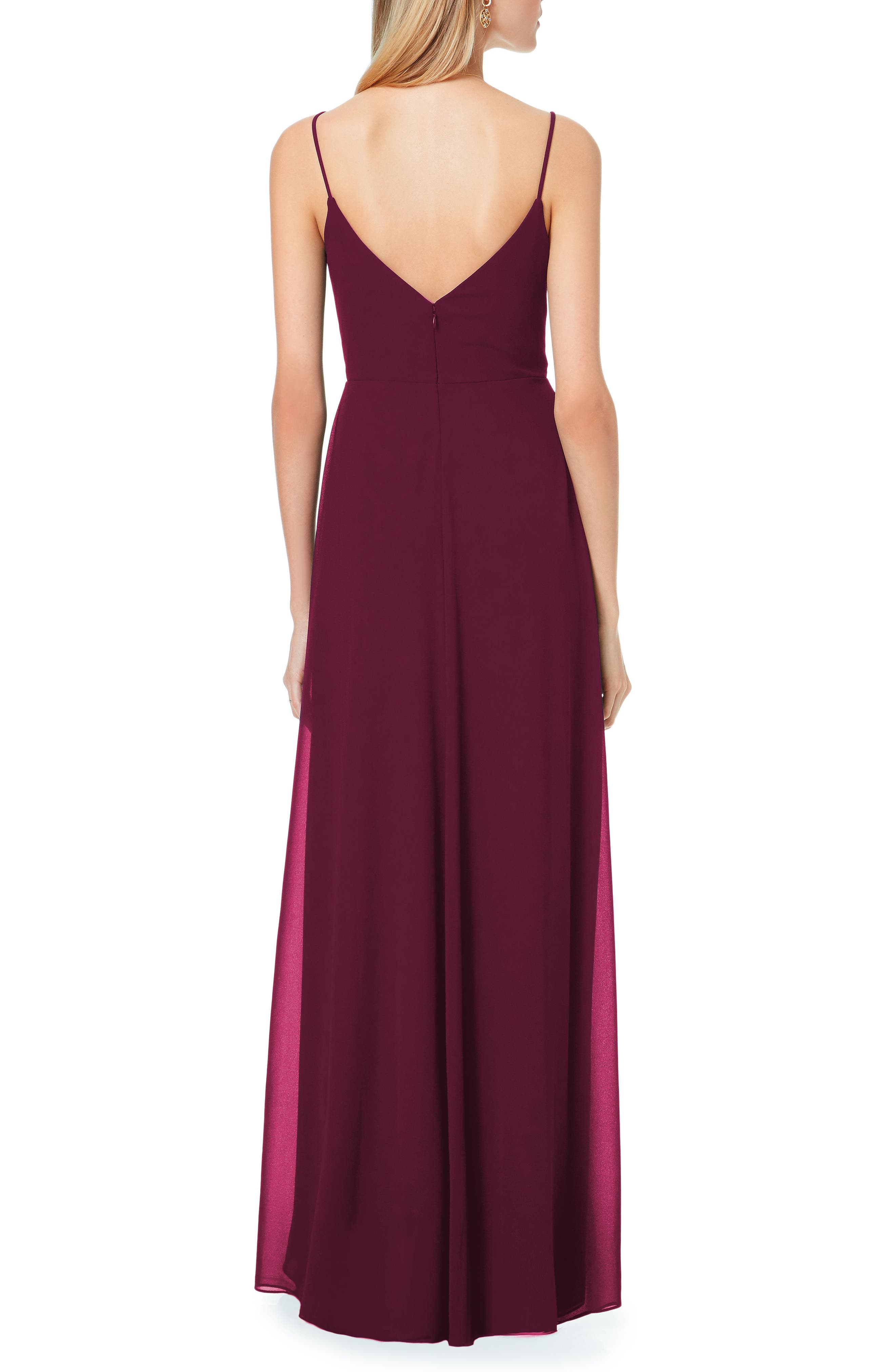 Pleated Bodice Chiffon Gown,                             Alternate thumbnail 2, color,                             Wine