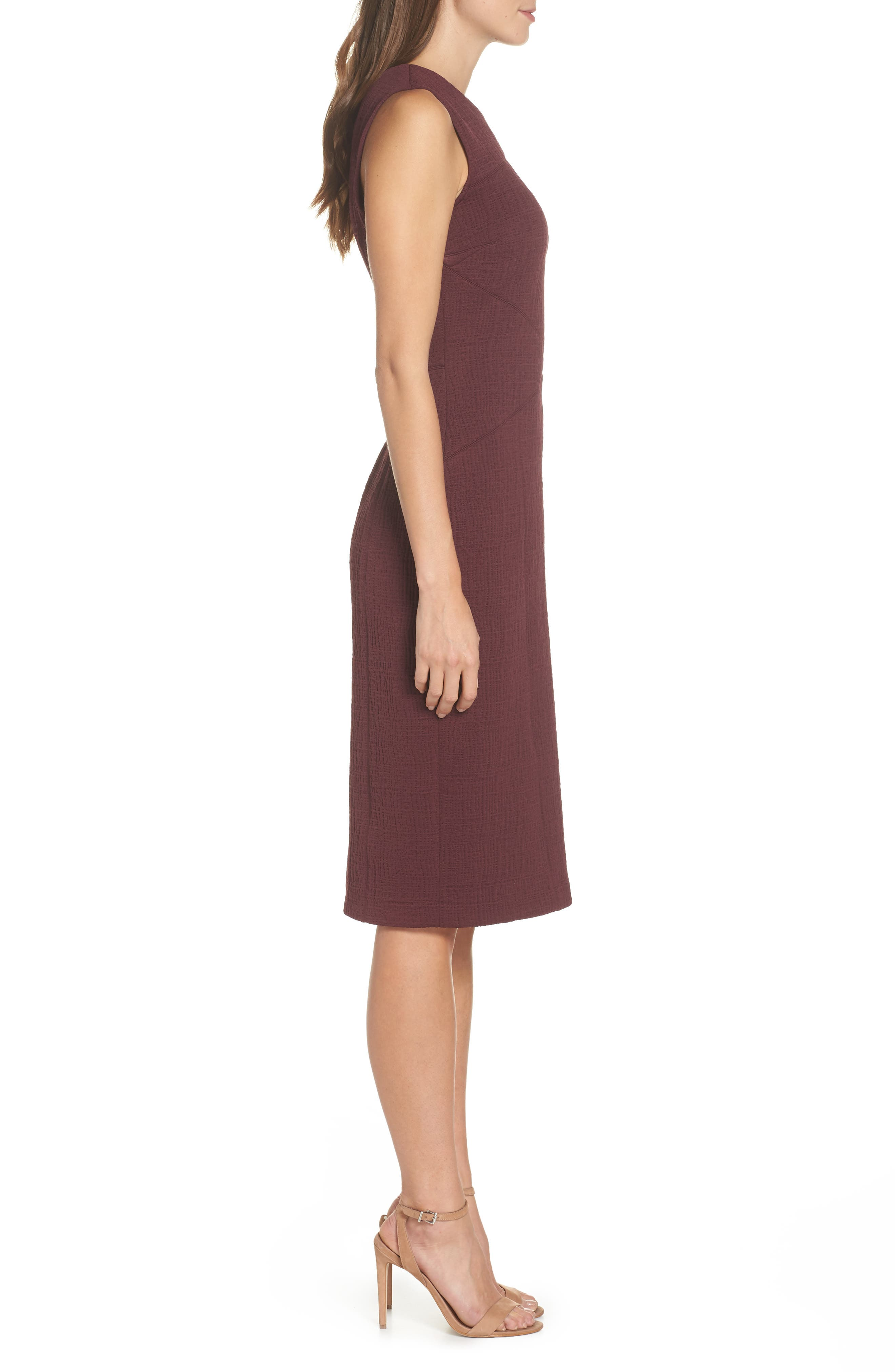 Jacquard Sheath Dress,                             Alternate thumbnail 3, color,                             Fig