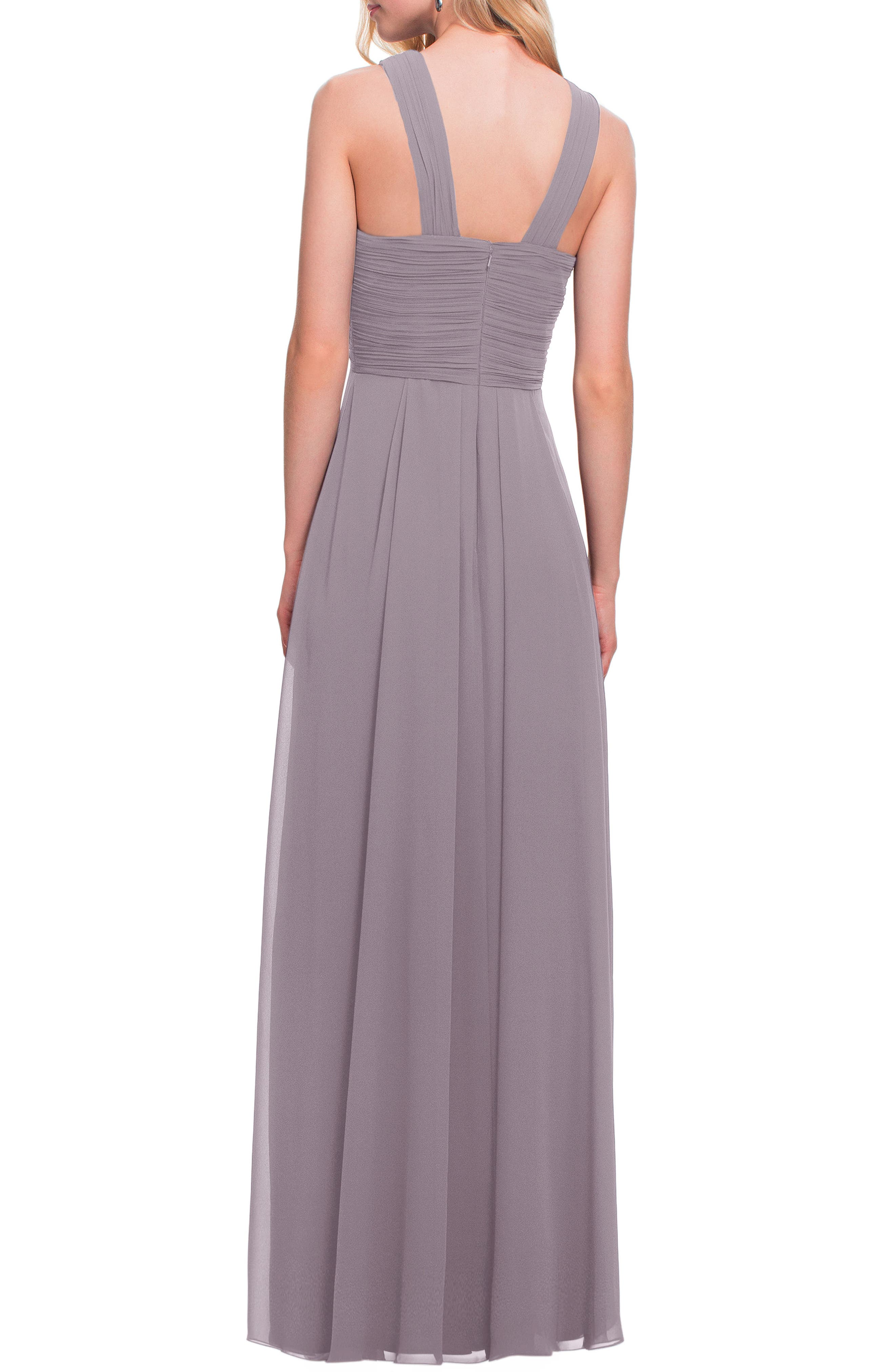 Crisscross Bodice Chiffon Gown,                             Alternate thumbnail 2, color,                             Heather