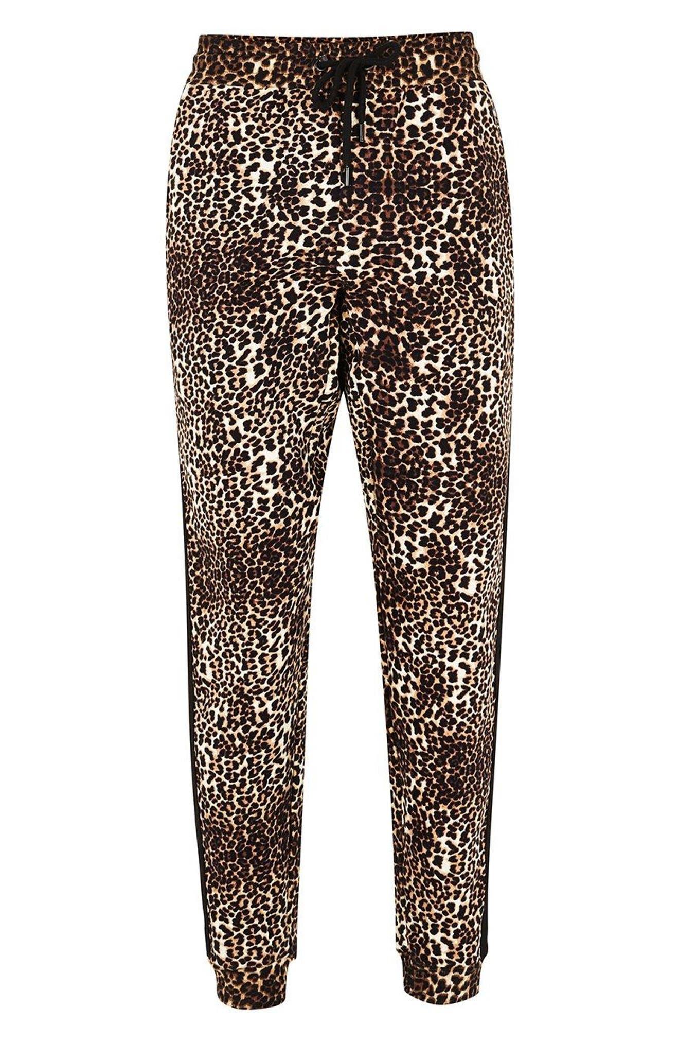 Leopard Print Tape Jogger Pants,                             Alternate thumbnail 3, color,                             Brown Multi