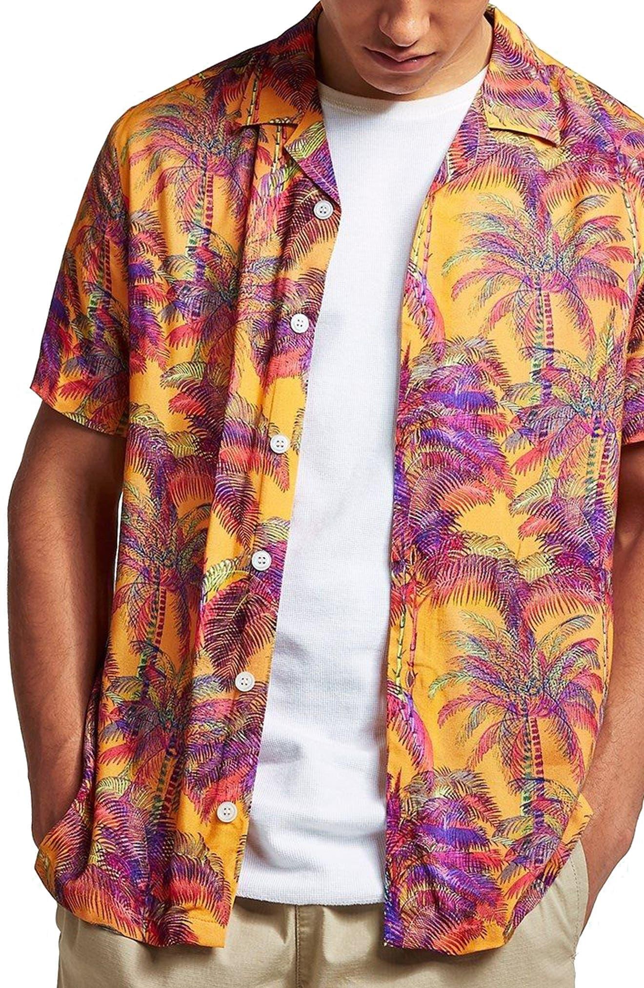 Palm Print Camp Shirt,                         Main,                         color, Orange Multi