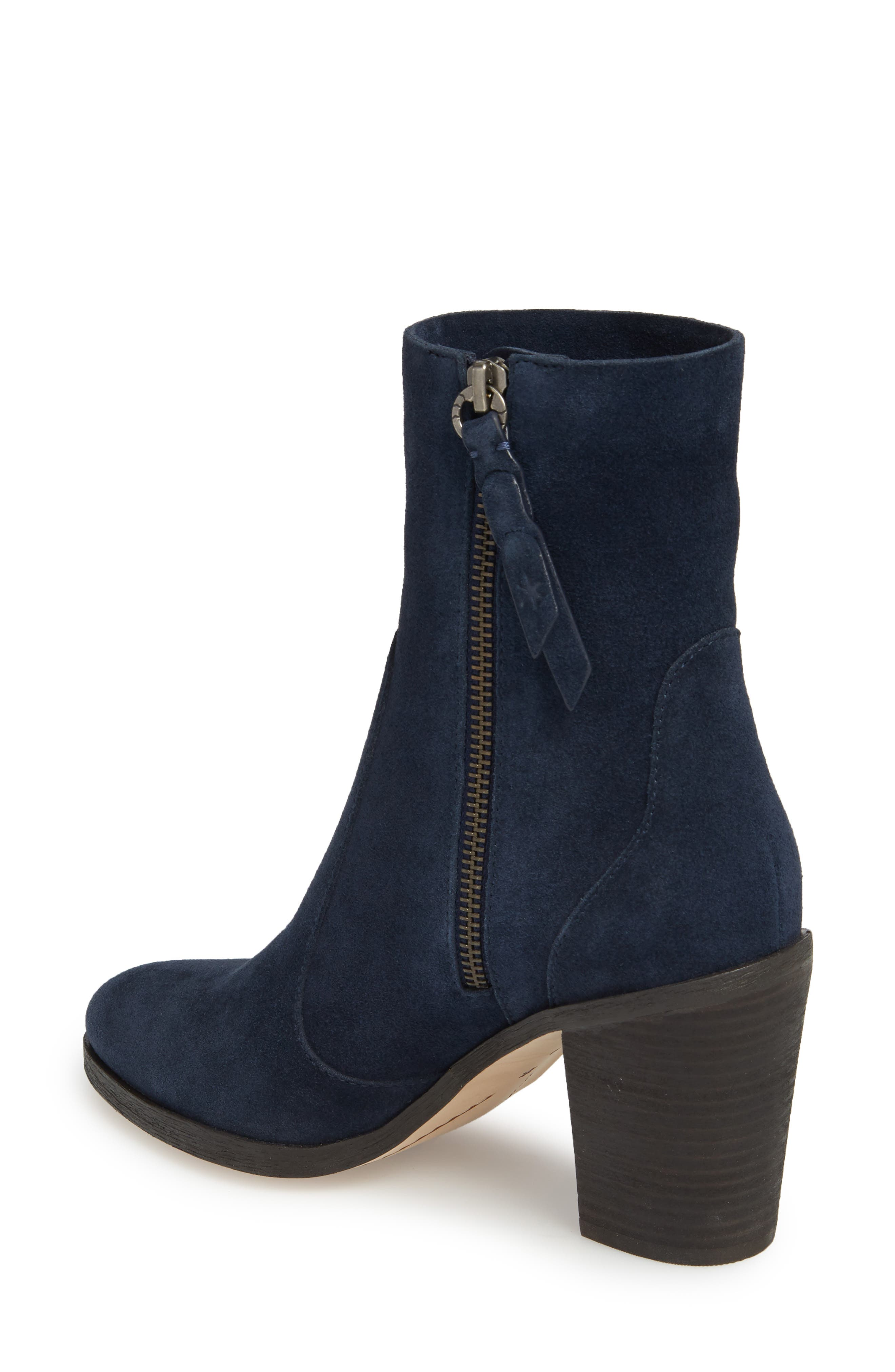 Roselyn II Almond Toe Bootie,                             Alternate thumbnail 2, color,                             Navy Suede