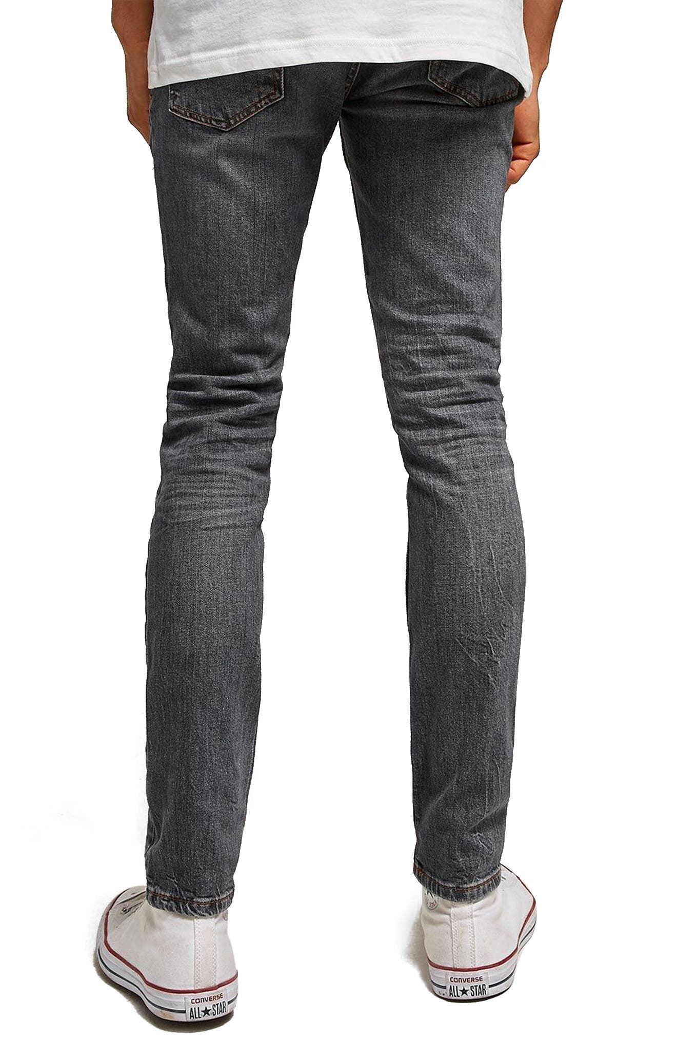Stretch Skinny Fit Jeans,                             Alternate thumbnail 2, color,                             Grey