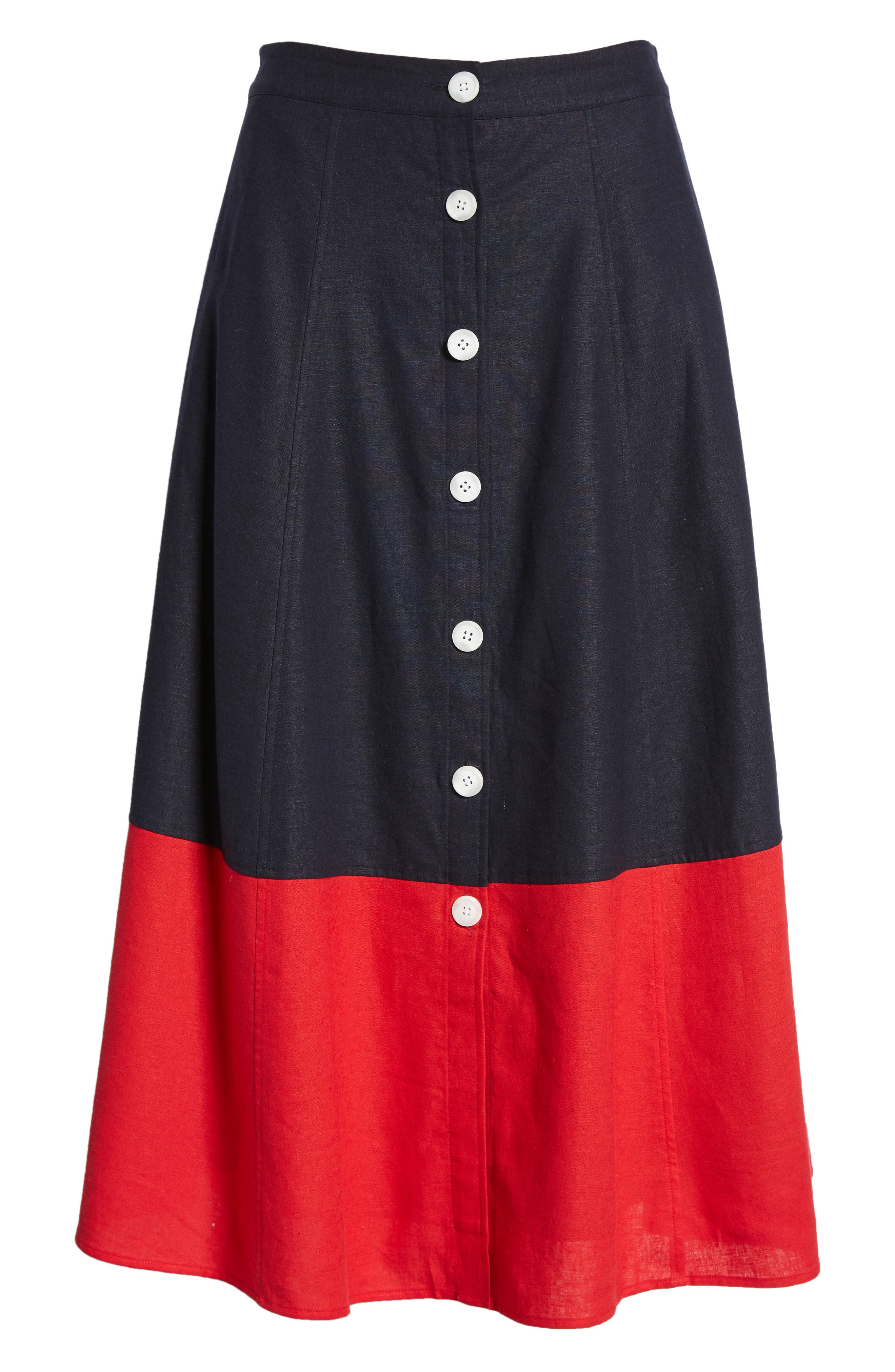 Colorblock Linen Blend Skirt,                             Alternate thumbnail 6, color,                             Navy- Red Colorblock