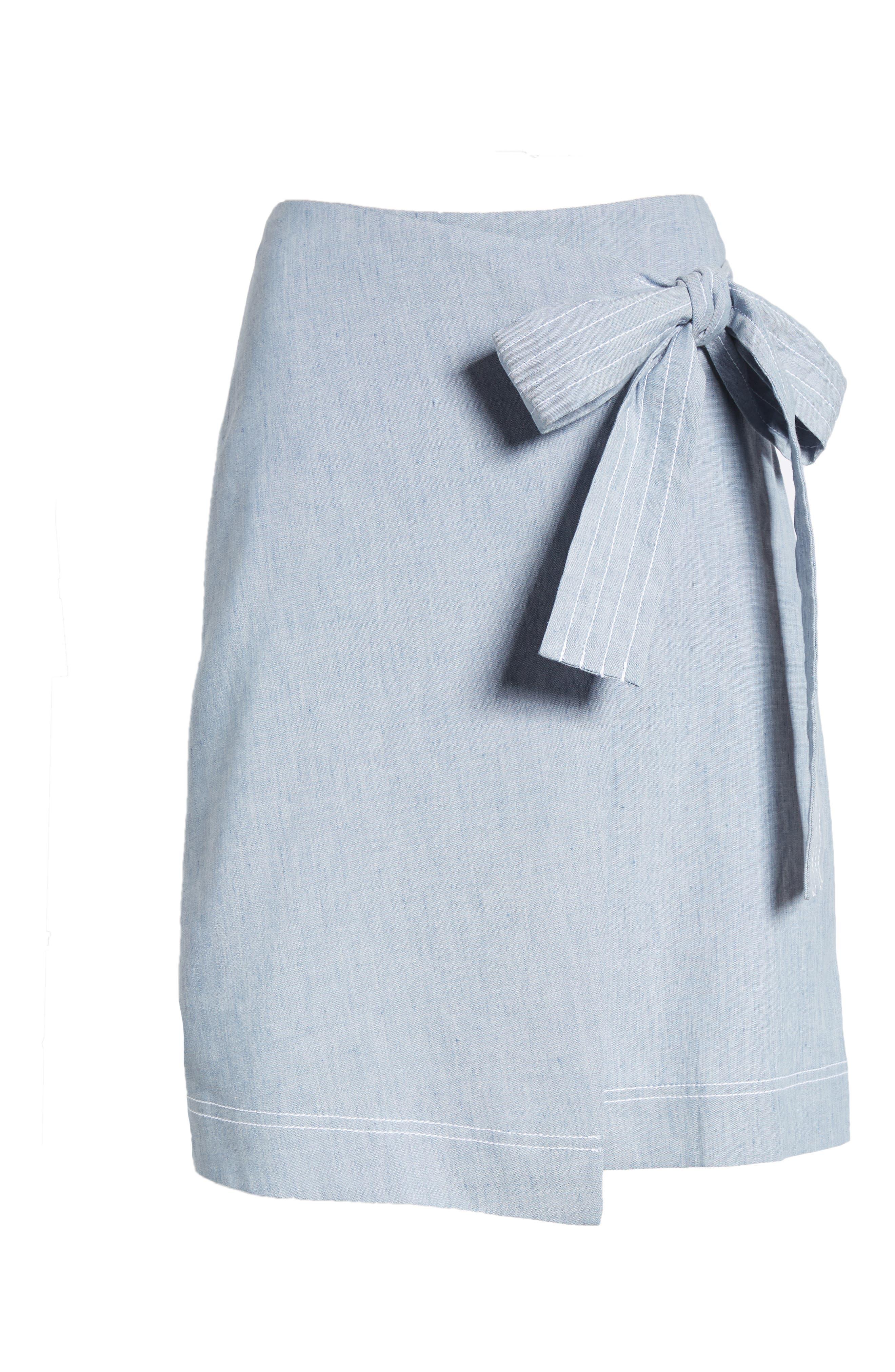 Wrap Style Chambray Linen Blend Miniskirt,                             Alternate thumbnail 7, color,                             Chambray
