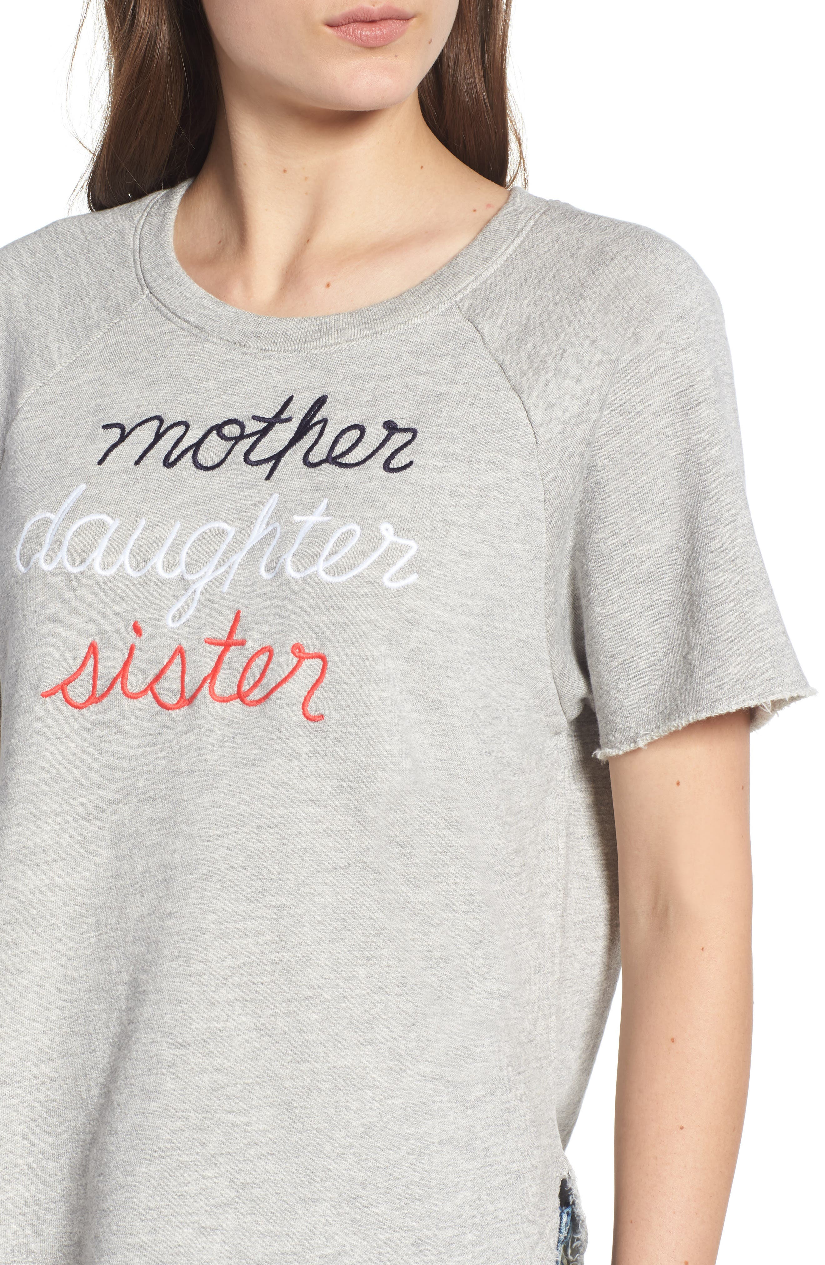 Mother Daughter Sister Sweatshirt,                             Alternate thumbnail 4, color,                             Heather Grey