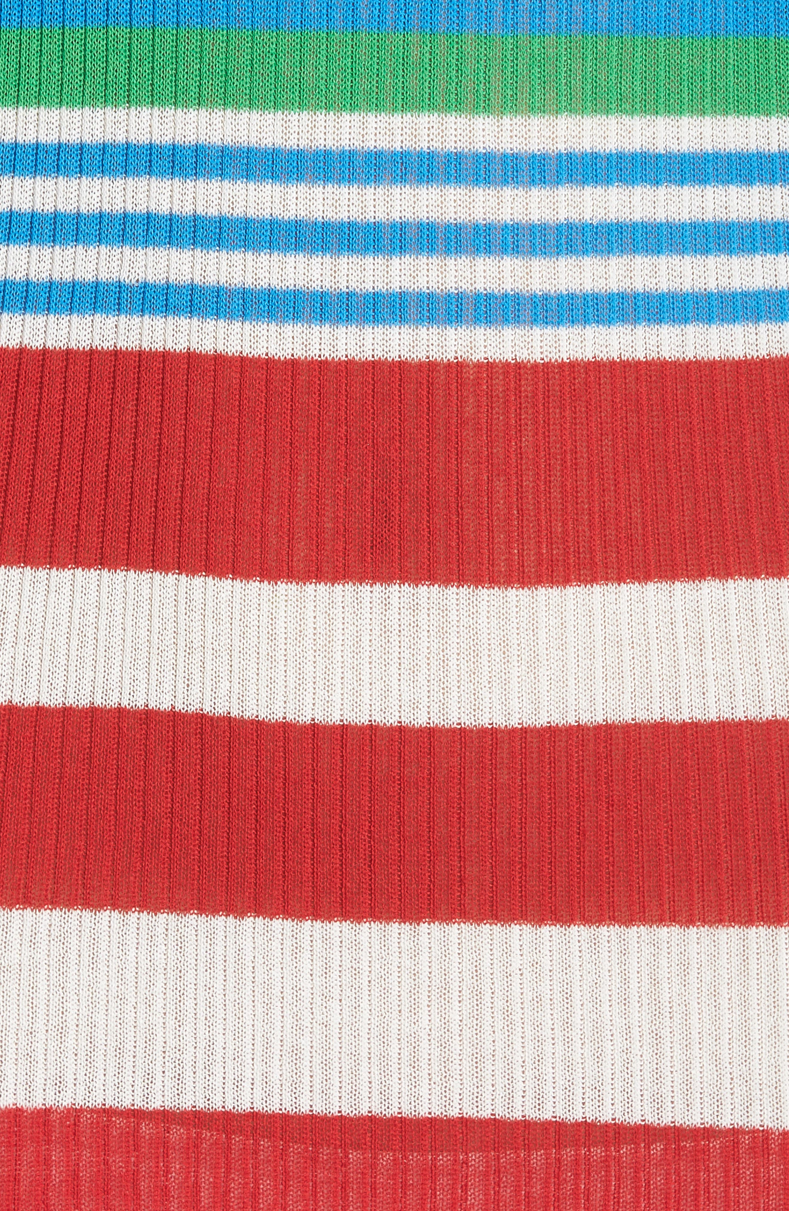 DVF Stripe Ribbed Cover-Up Sweater Dress,                             Alternate thumbnail 5, color,                             Cadmium Multi