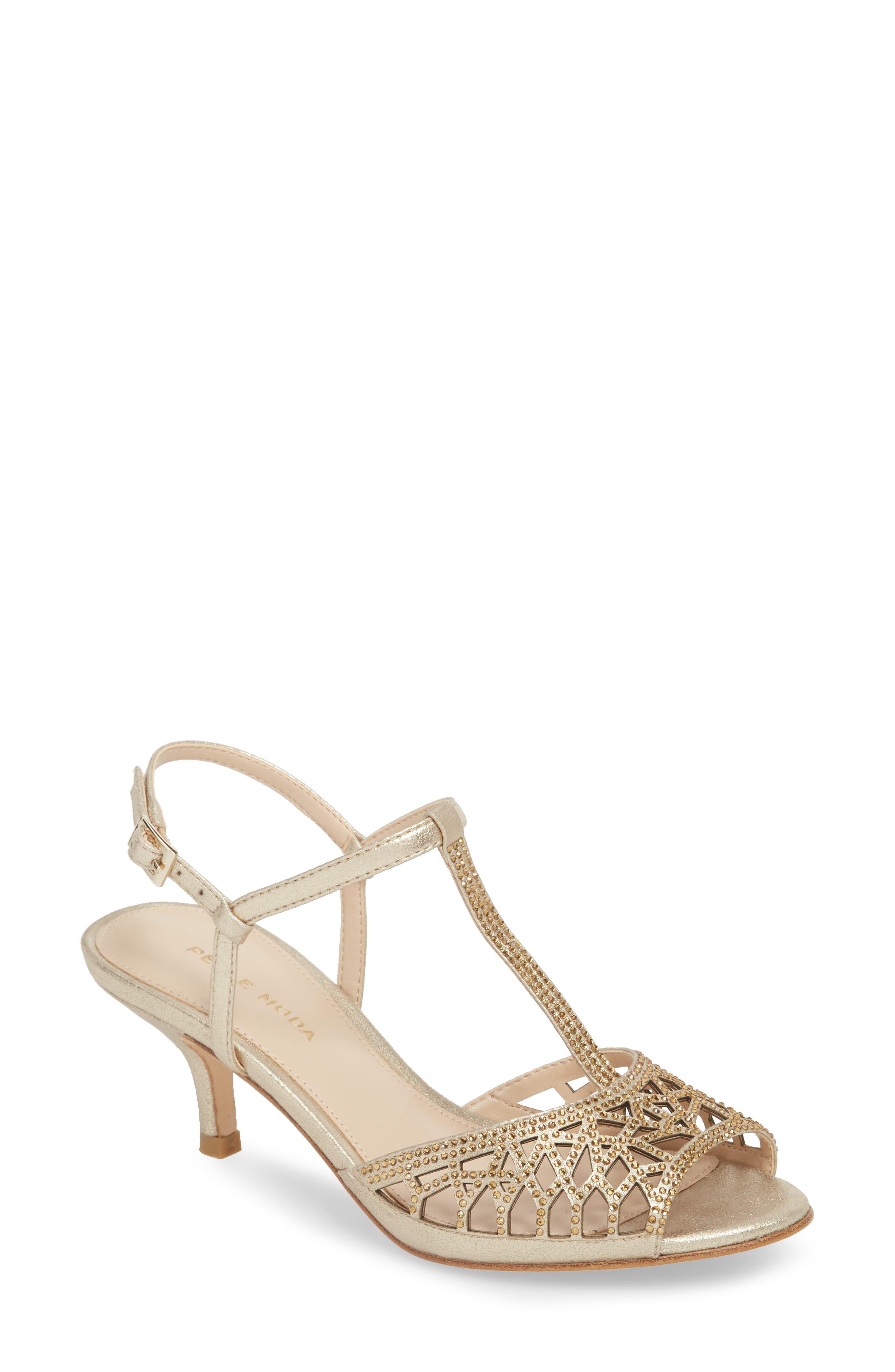 Adaline Embellished Sandal,                         Main,                         color, Platinum Gold Metallic Suede