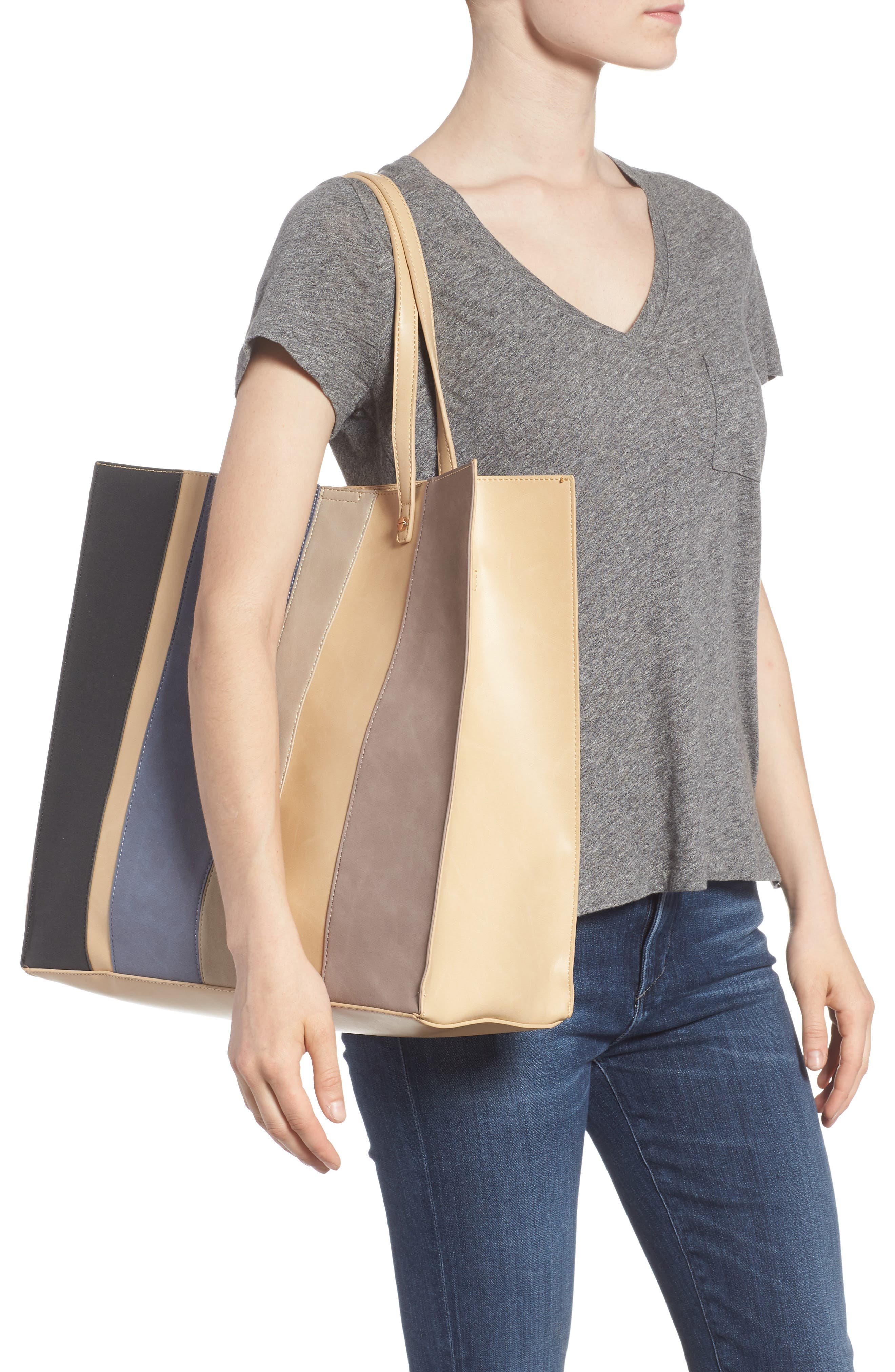 Adeline Stripe Faux Leather Tote,                             Alternate thumbnail 2, color,                             Sand