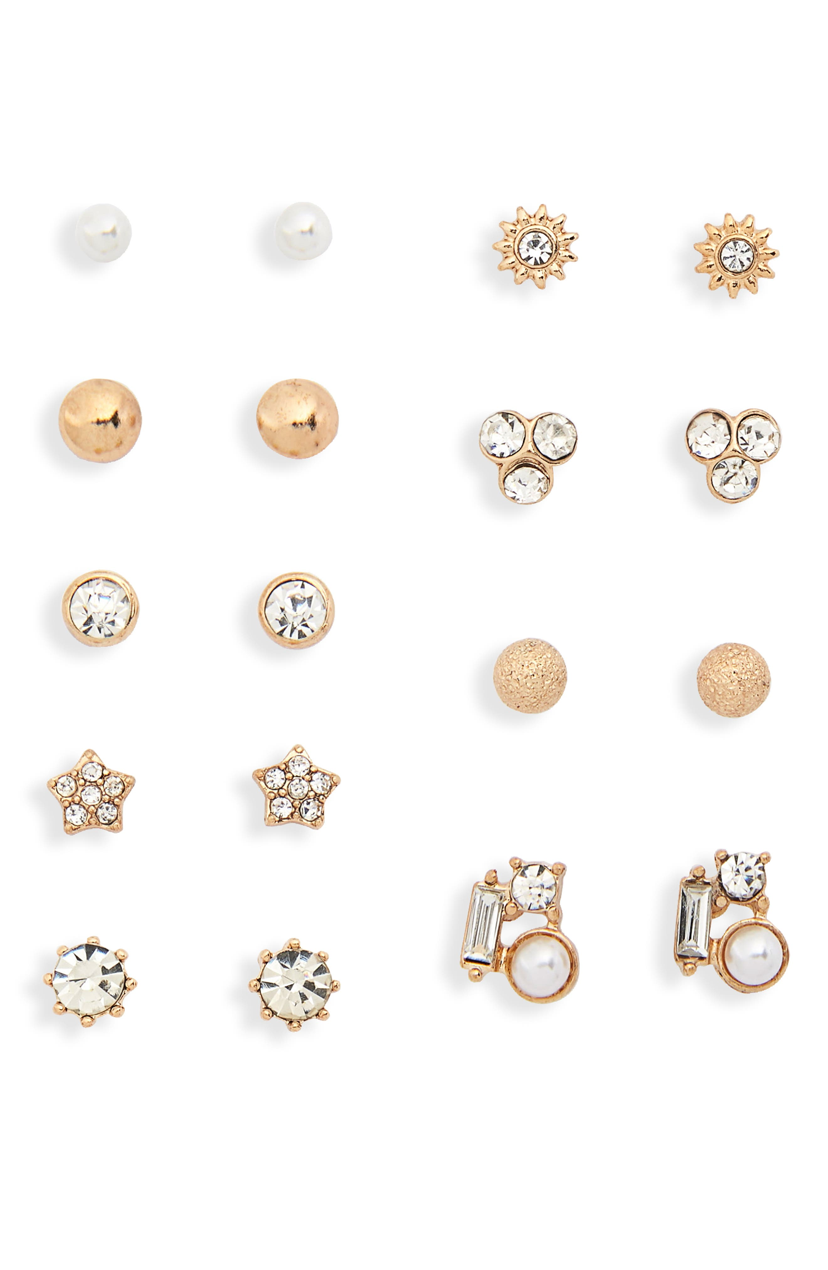 9-Pack Crystal Cluster Stud Earrings,                             Main thumbnail 1, color,                             Gold/ Crystal