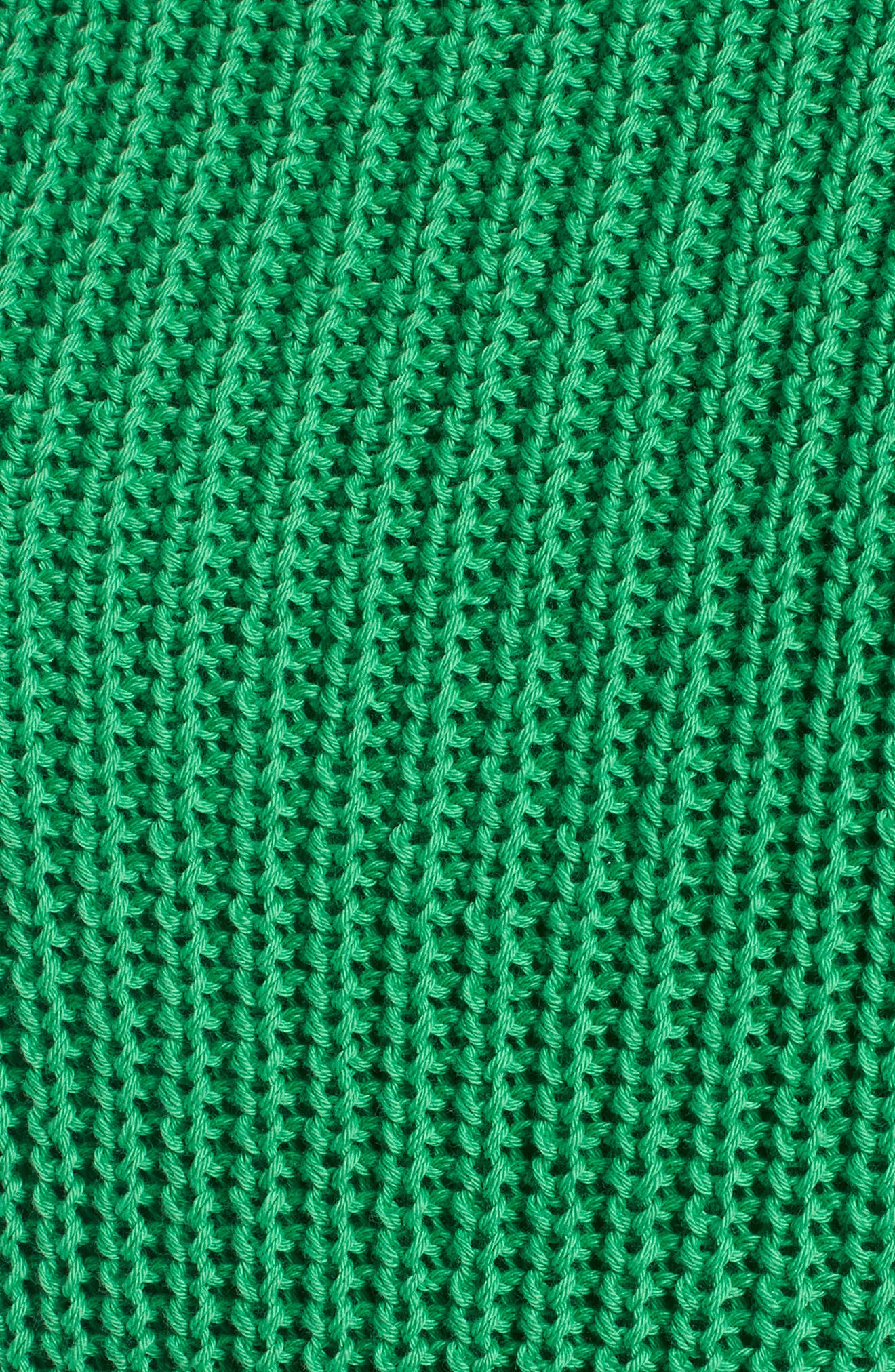 Shaker Stitch Cotton Sweater,                             Alternate thumbnail 5, color,                             Green Kelly