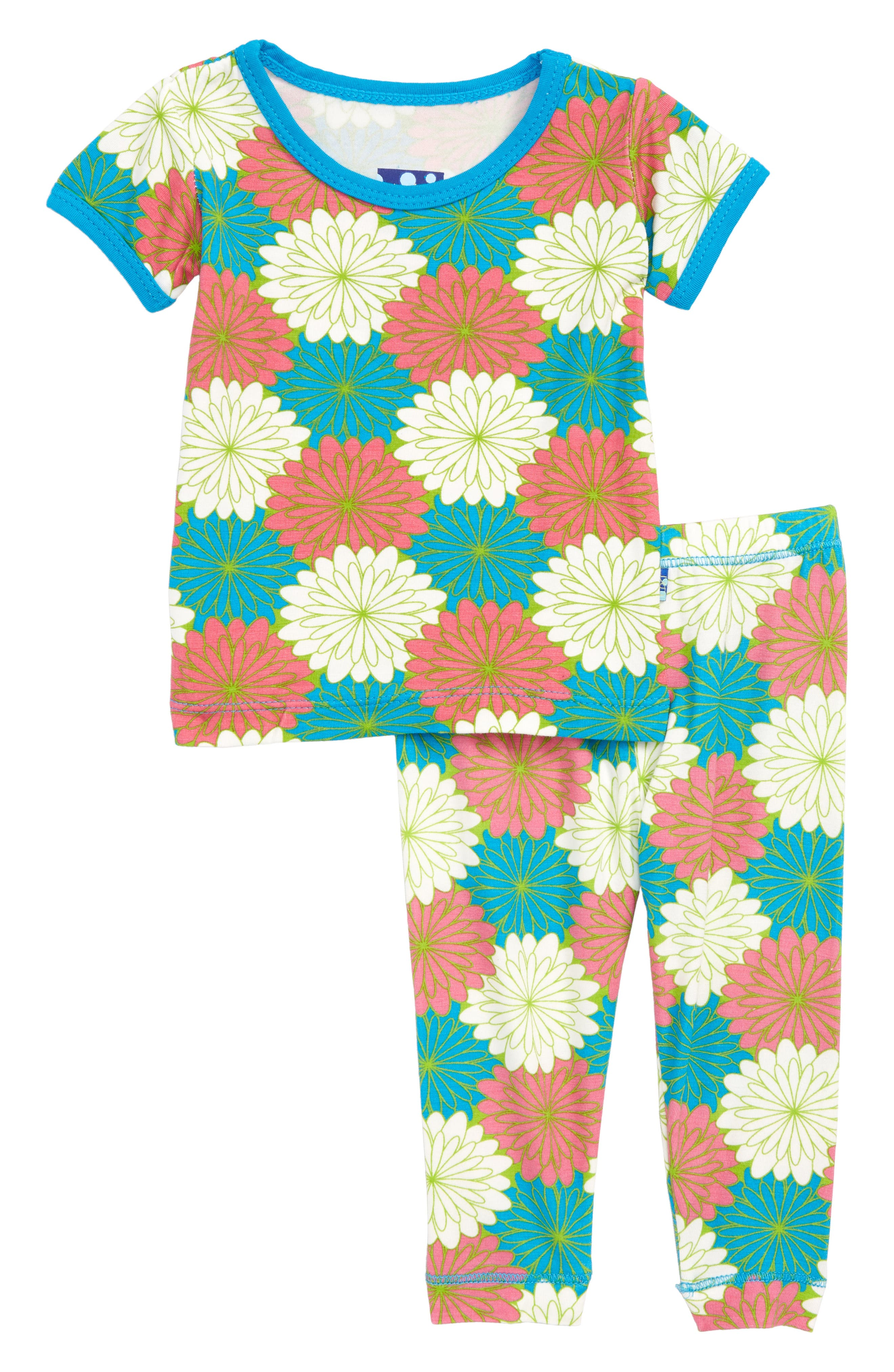 Two-Piece Fitted Pajamas,                         Main,                         color, Tropical Flowers