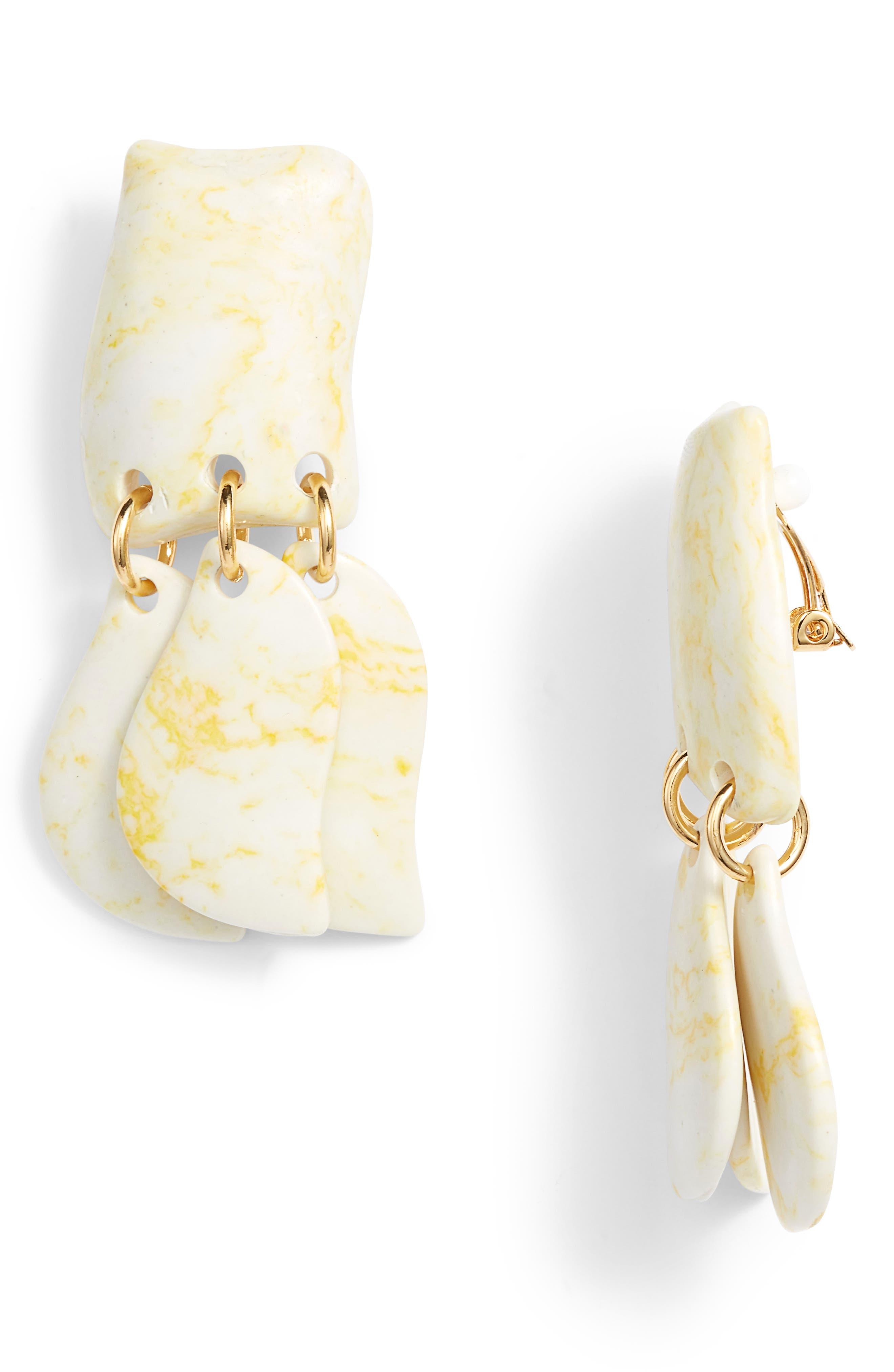 Iris Petal Drop Earrings,                             Main thumbnail 1, color,                             Bone