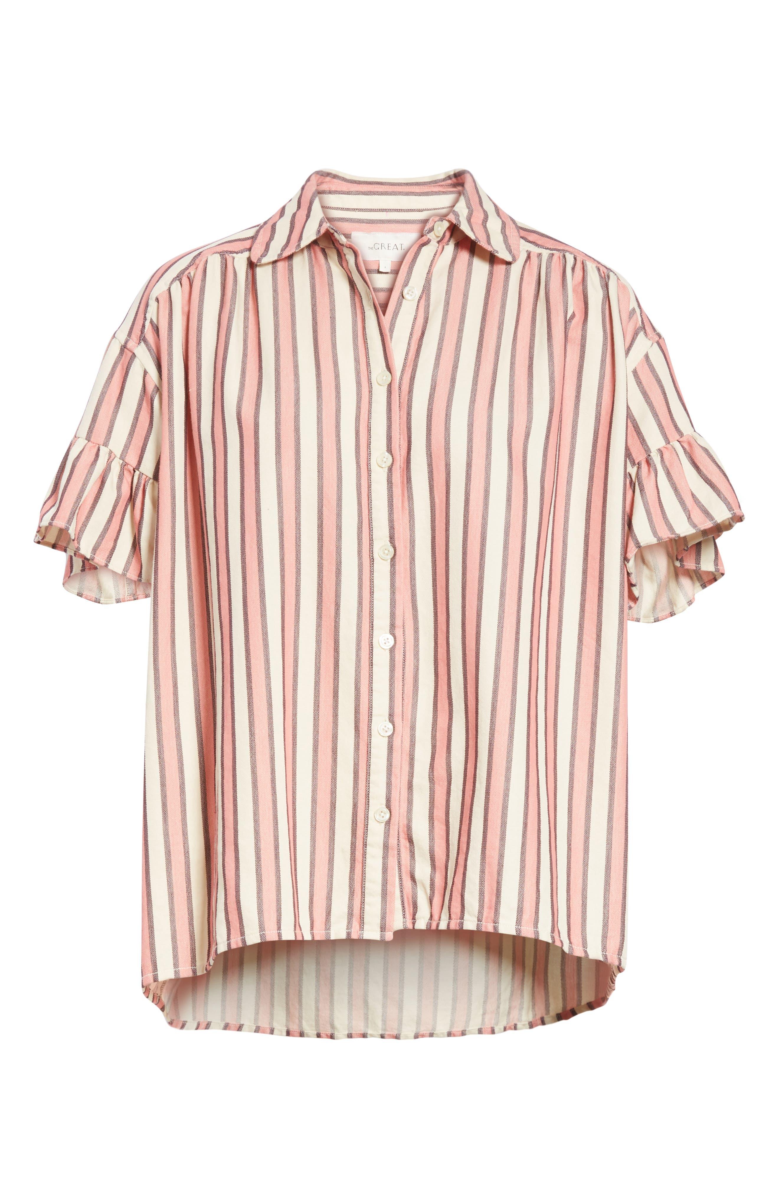 Flutter Sleeve Stripe Shirt,                             Alternate thumbnail 7, color,                             Pink Taffy Stripe