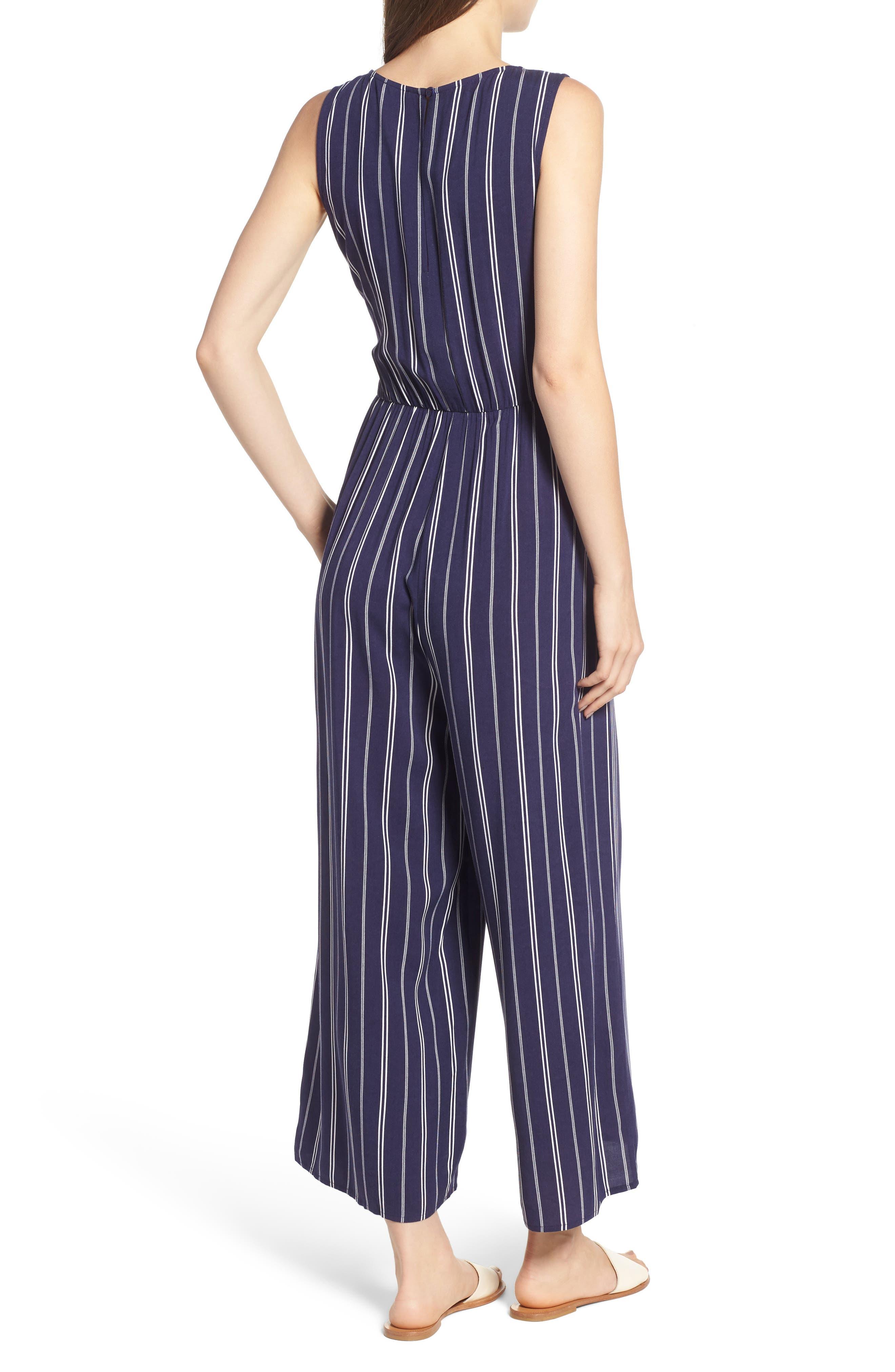 Stripe Side Tie Jumpsuit,                             Alternate thumbnail 2, color,                             Navy