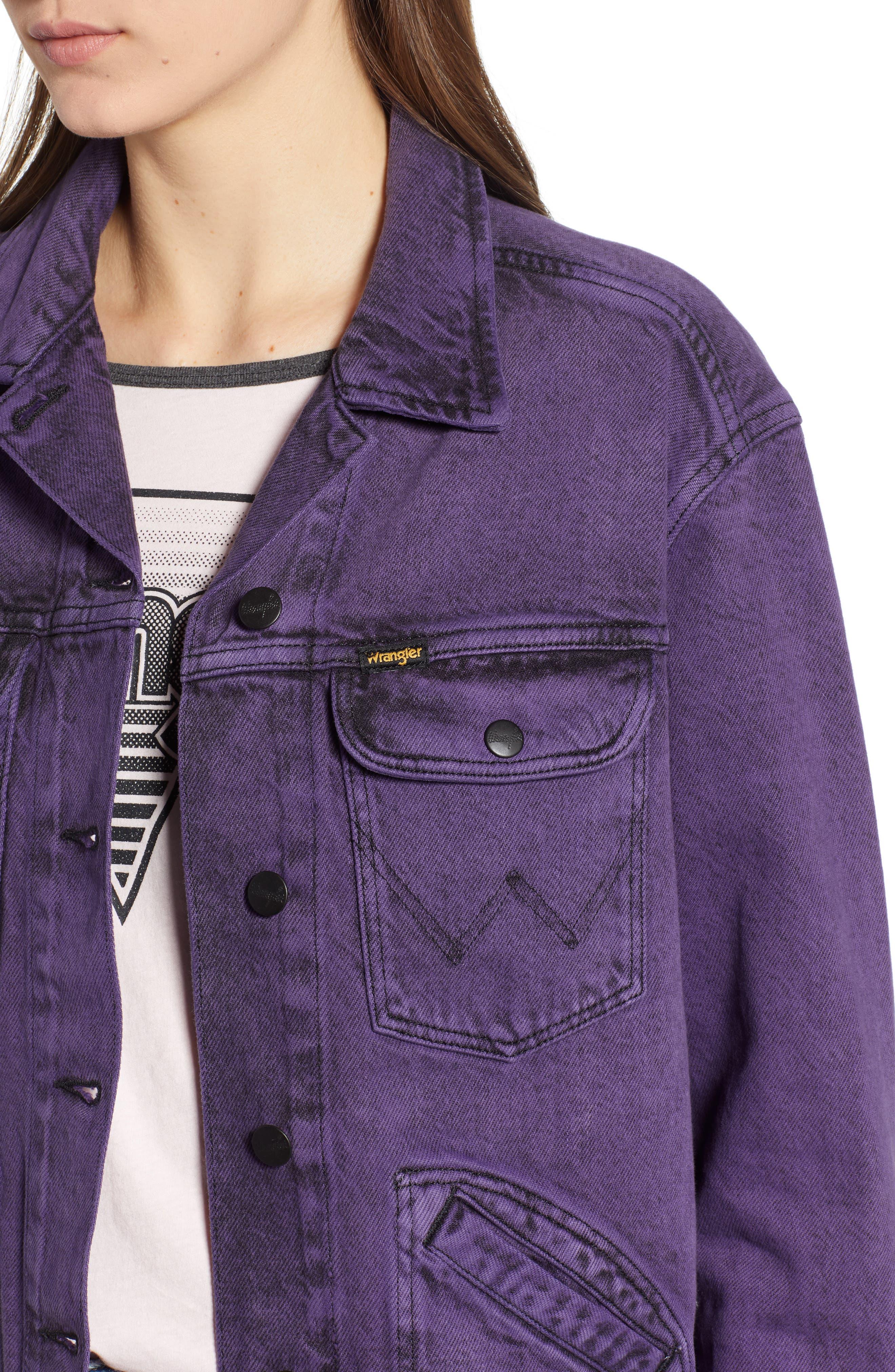 Denim Jacket,                             Alternate thumbnail 4, color,                             Purple Pop