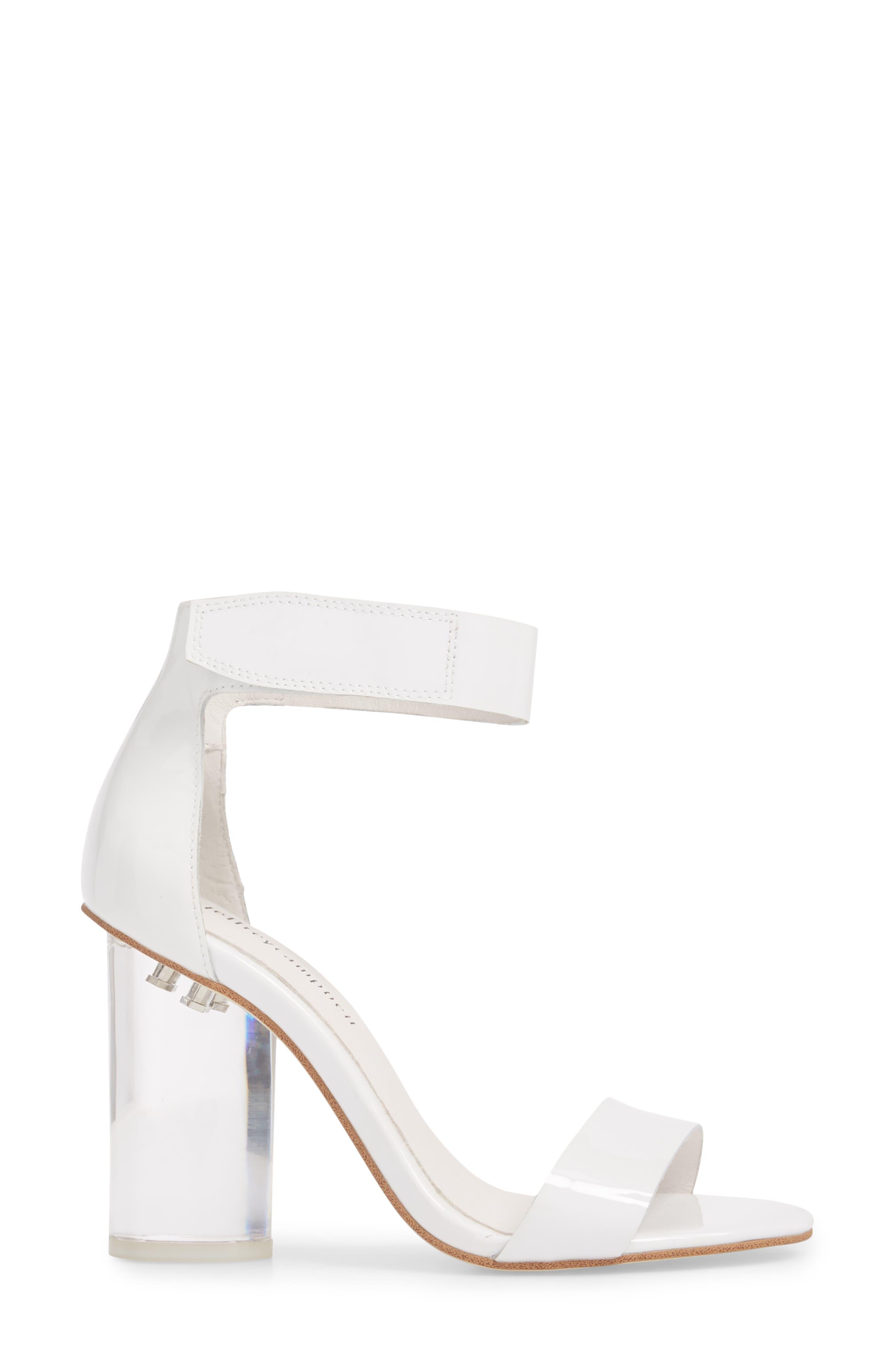 Alessa Clear Heel Sandal,                             Alternate thumbnail 3, color,                             White Patent