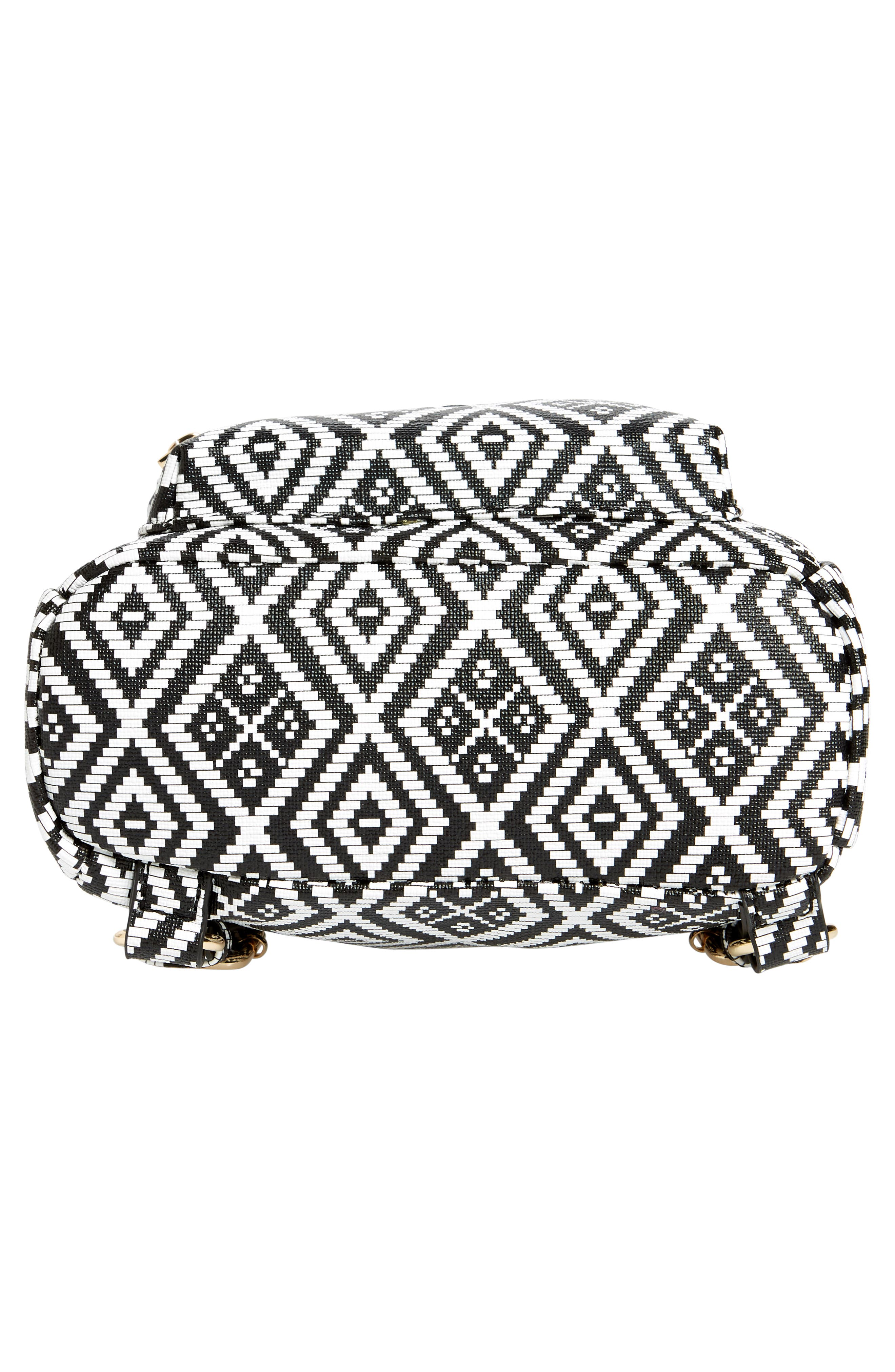 Weave Pattern Faux Leather Mini Backpack,                             Alternate thumbnail 5, color,                             Black/ White