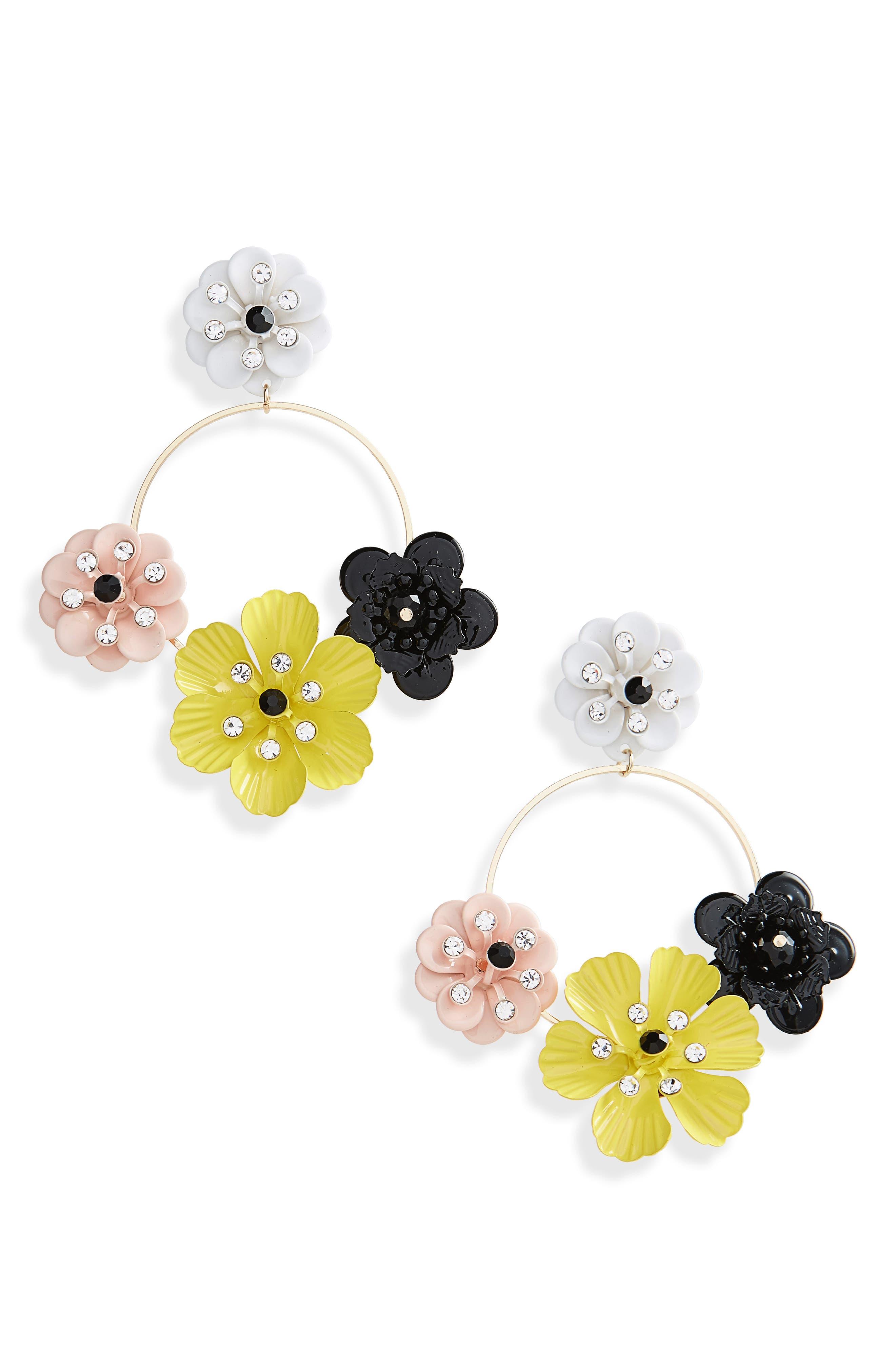 Flower Circle Drop Earrings,                             Main thumbnail 1, color,                             Yellow Multi
