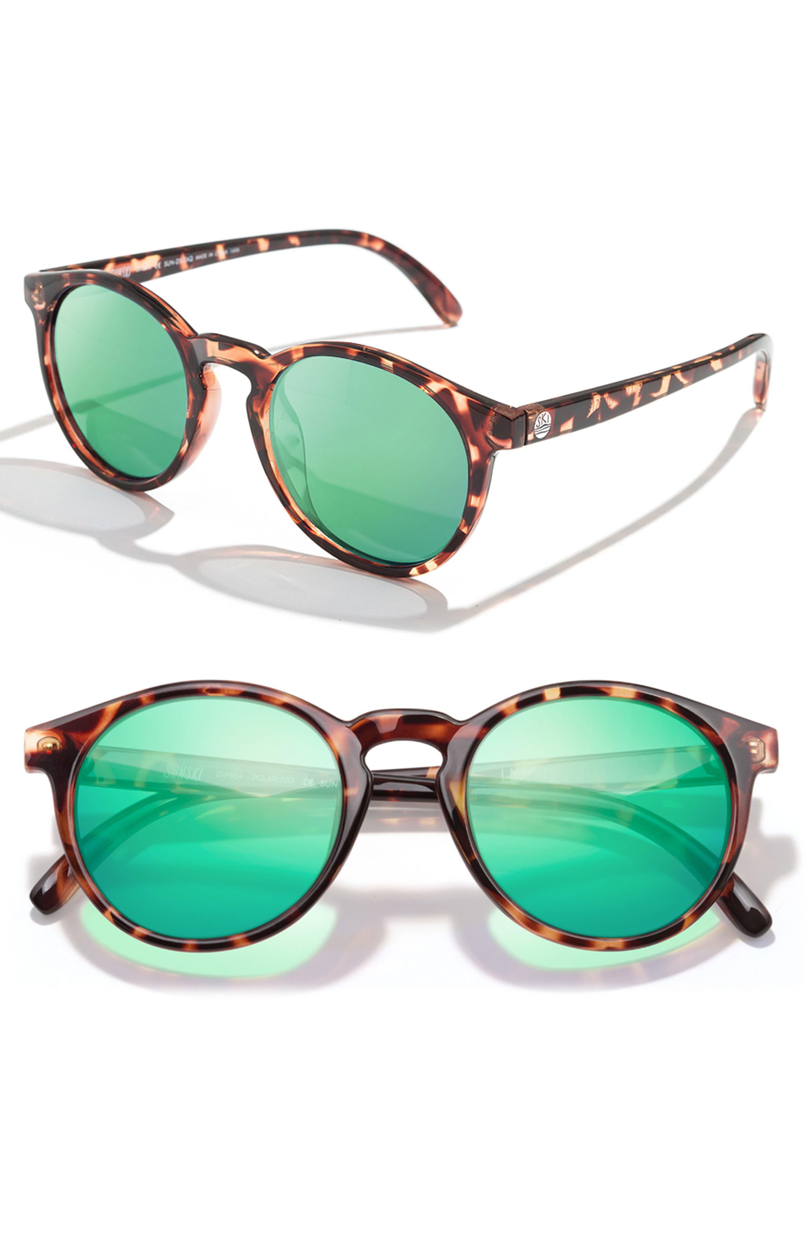 Dipsea 48mm Polarized Sunglasses,                         Main,                         color, Tortoise Emerald
