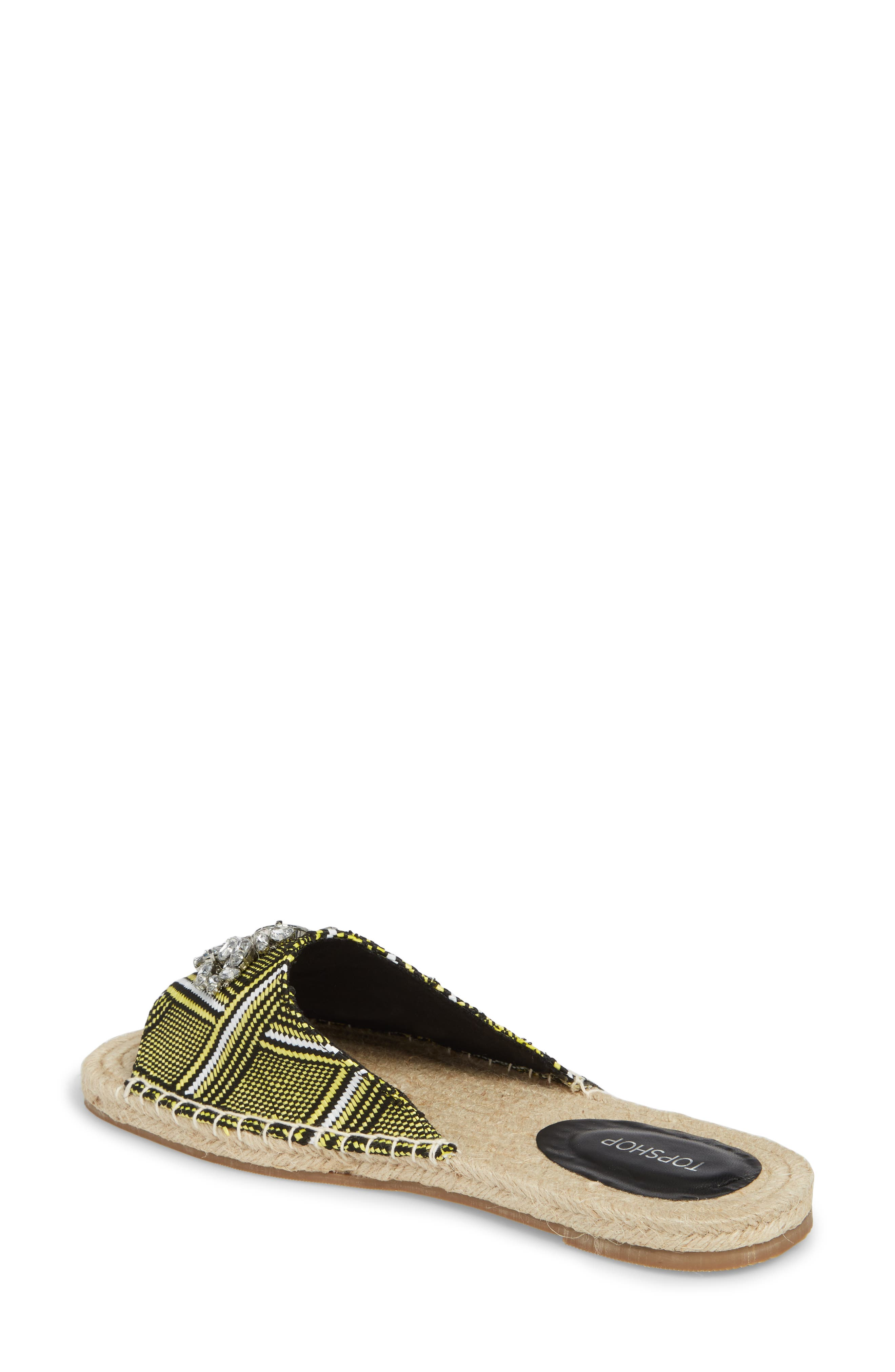 Hey Espadrille Square Slider Sandals,                             Alternate thumbnail 2, color,                             Yellow Multi