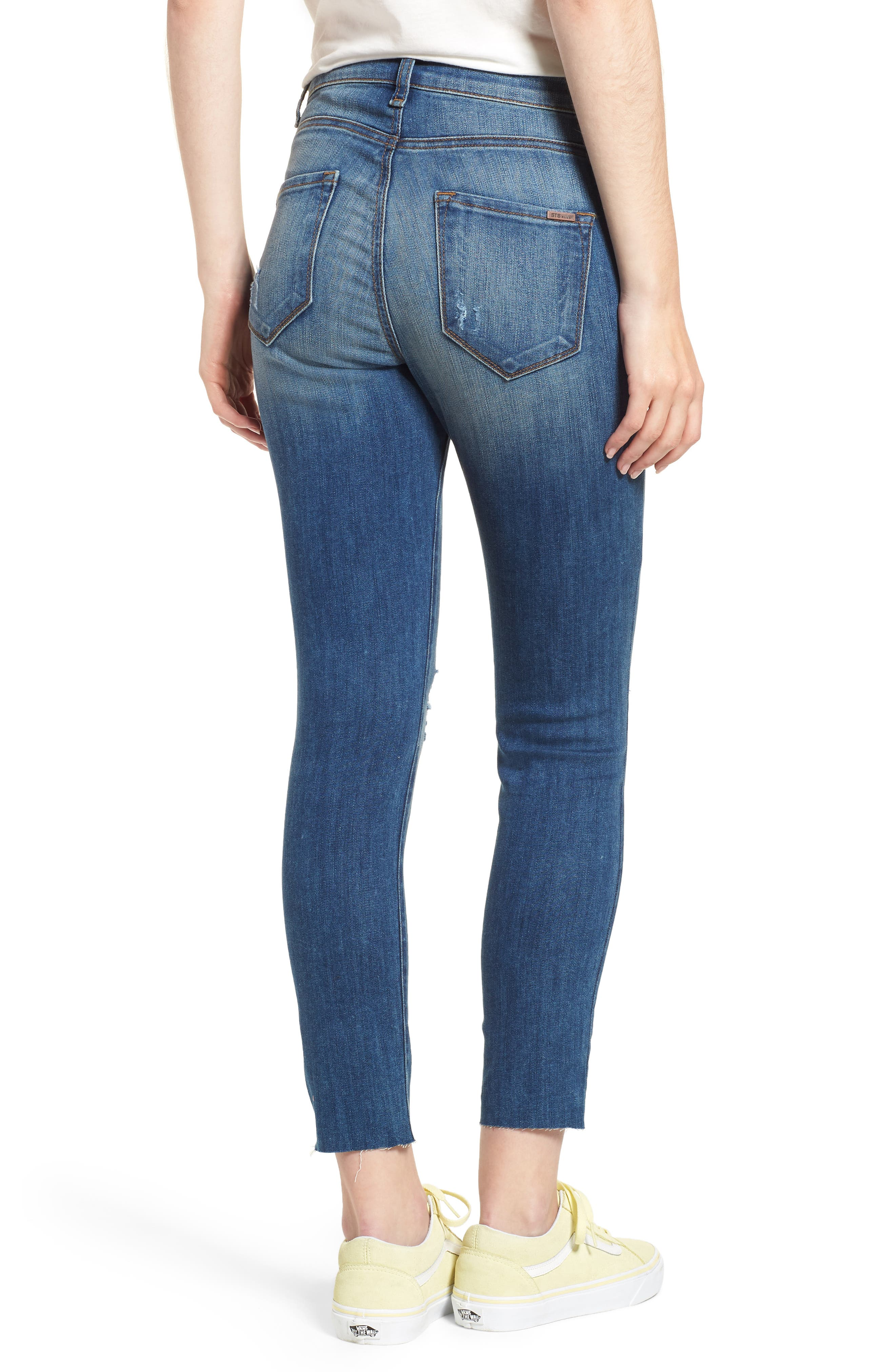 Ellie Ripped High Rise Cropped Jeans,                             Alternate thumbnail 2, color,                             Lamont W/ Med Ba