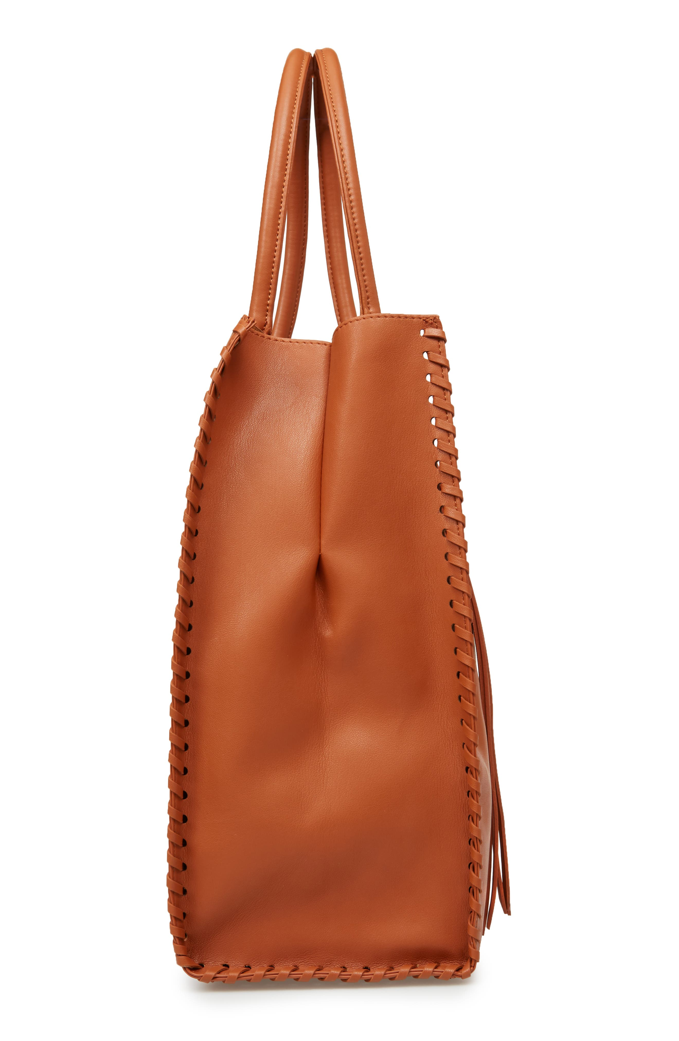 Cadence Faux Leather Whipstitch Tote,                             Alternate thumbnail 5, color,                             Cognac