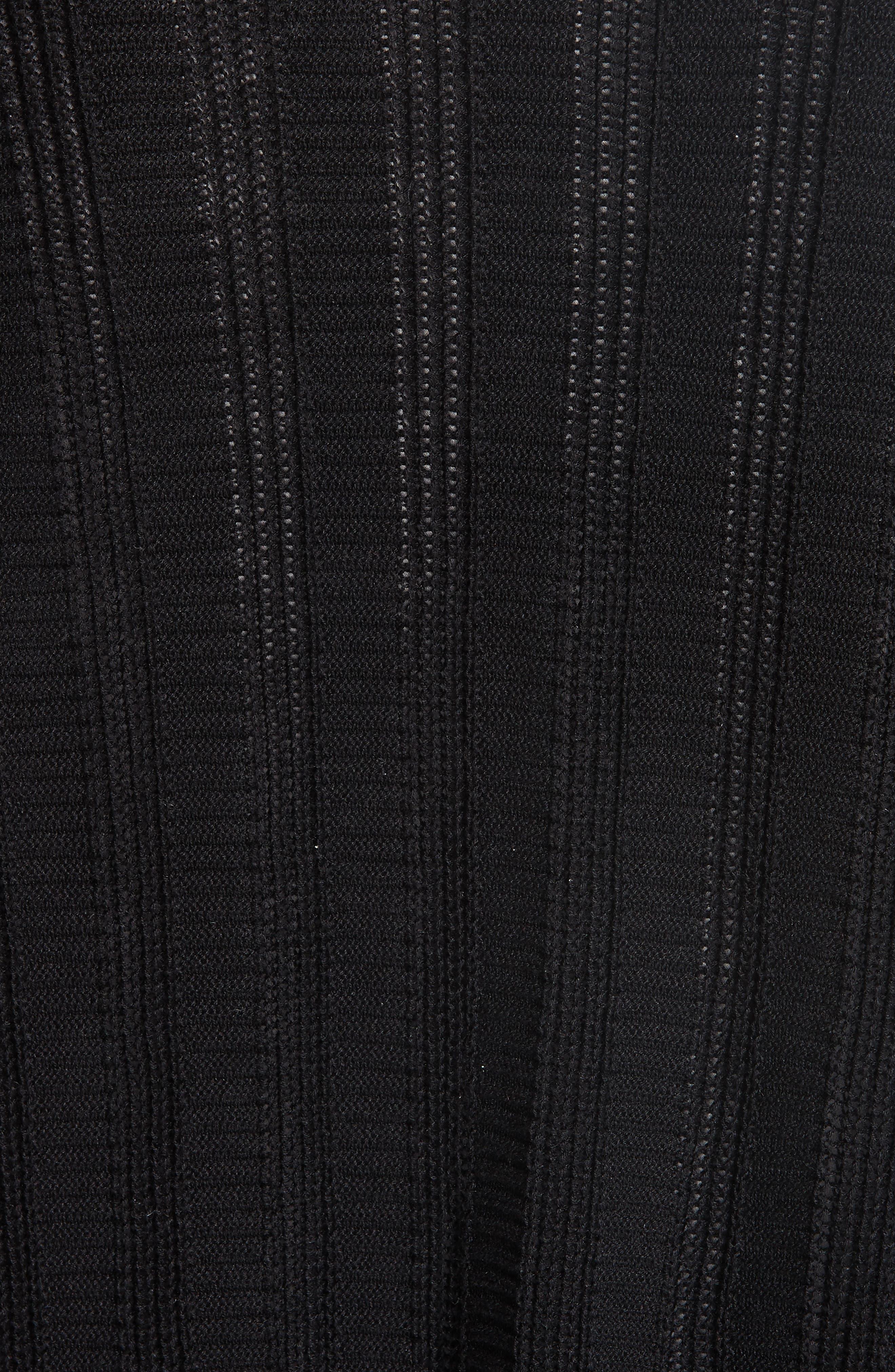 Bell Cuff Silk Blend Cardigan,                             Alternate thumbnail 5, color,                             Black