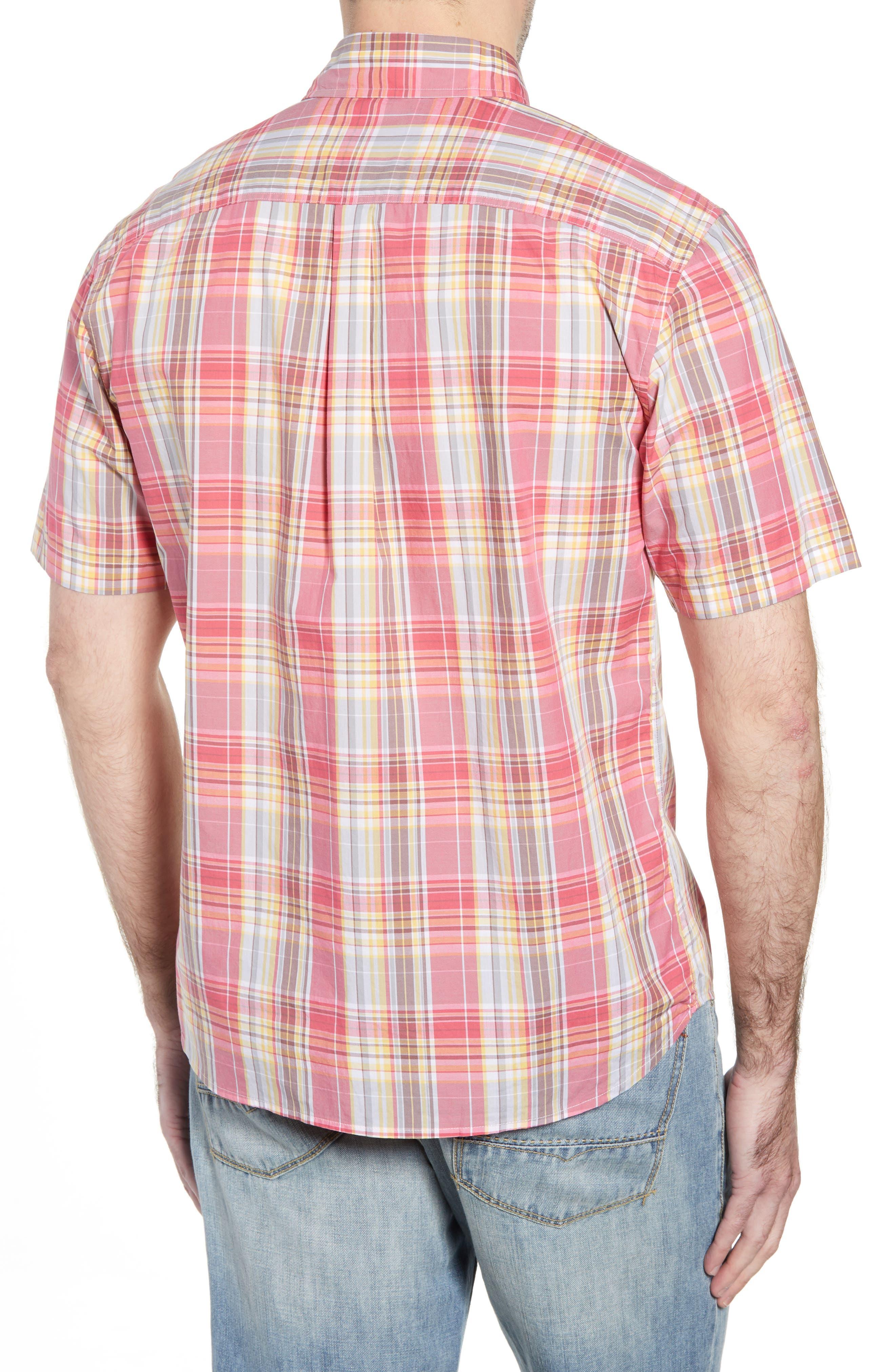 Glenn Classic Fit Plaid Sport Shirt,                             Alternate thumbnail 4, color,                             Calypso