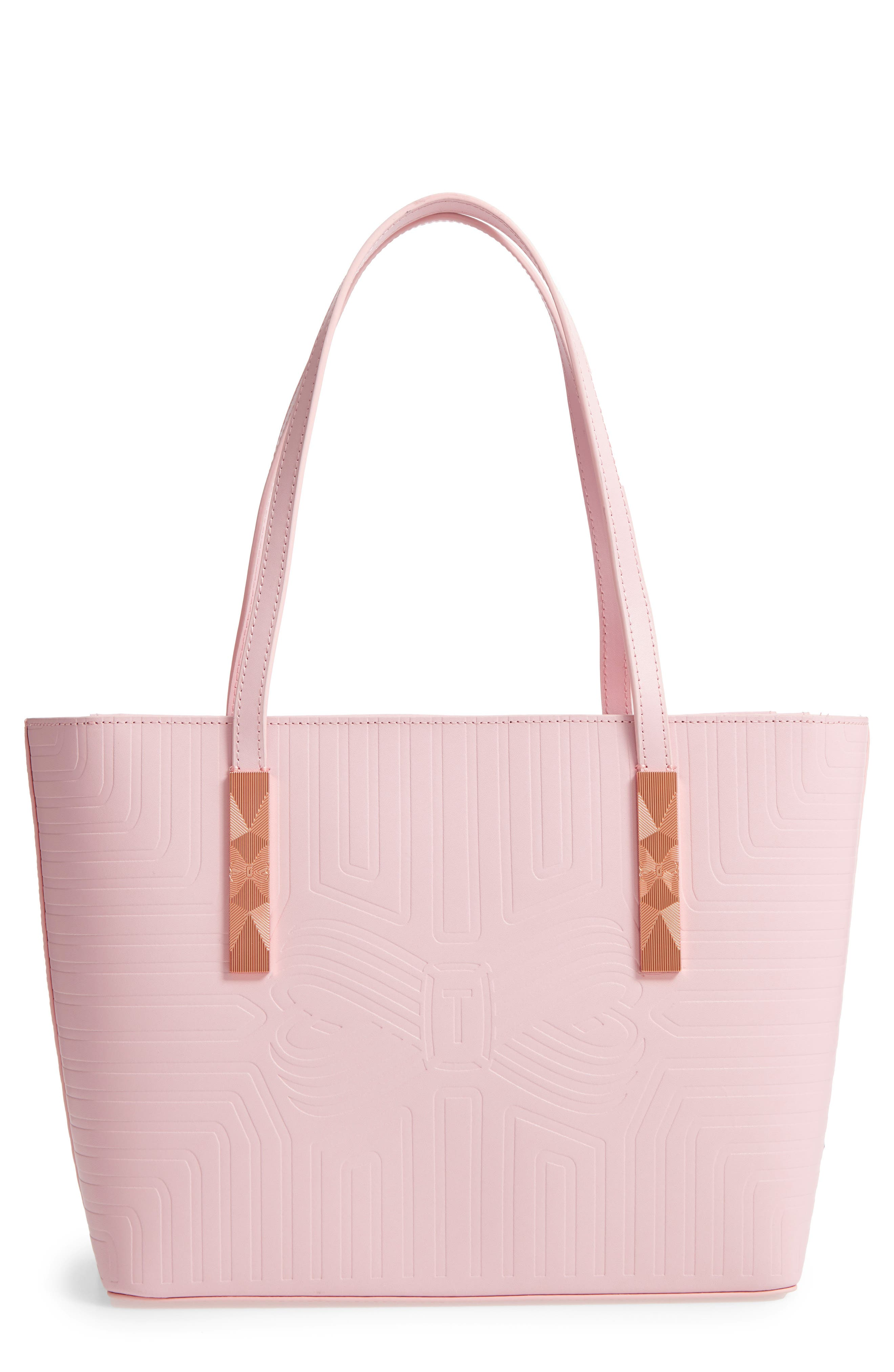 Bow Embossed Leather Shopper,                             Main thumbnail 1, color,                             Light Pink