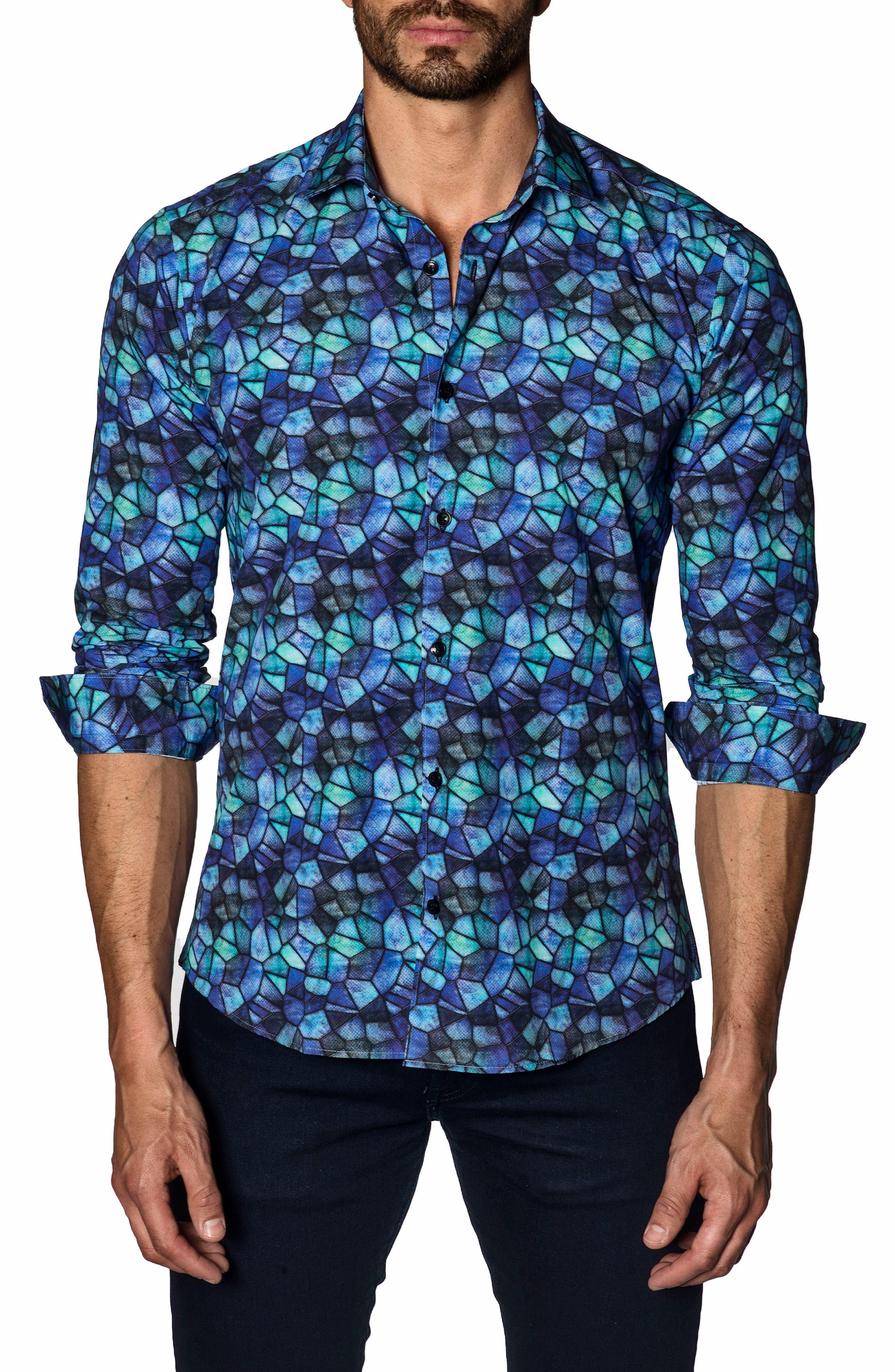 Trim Fit Sport Shirt,                             Main thumbnail 1, color,                             Purple Green Print