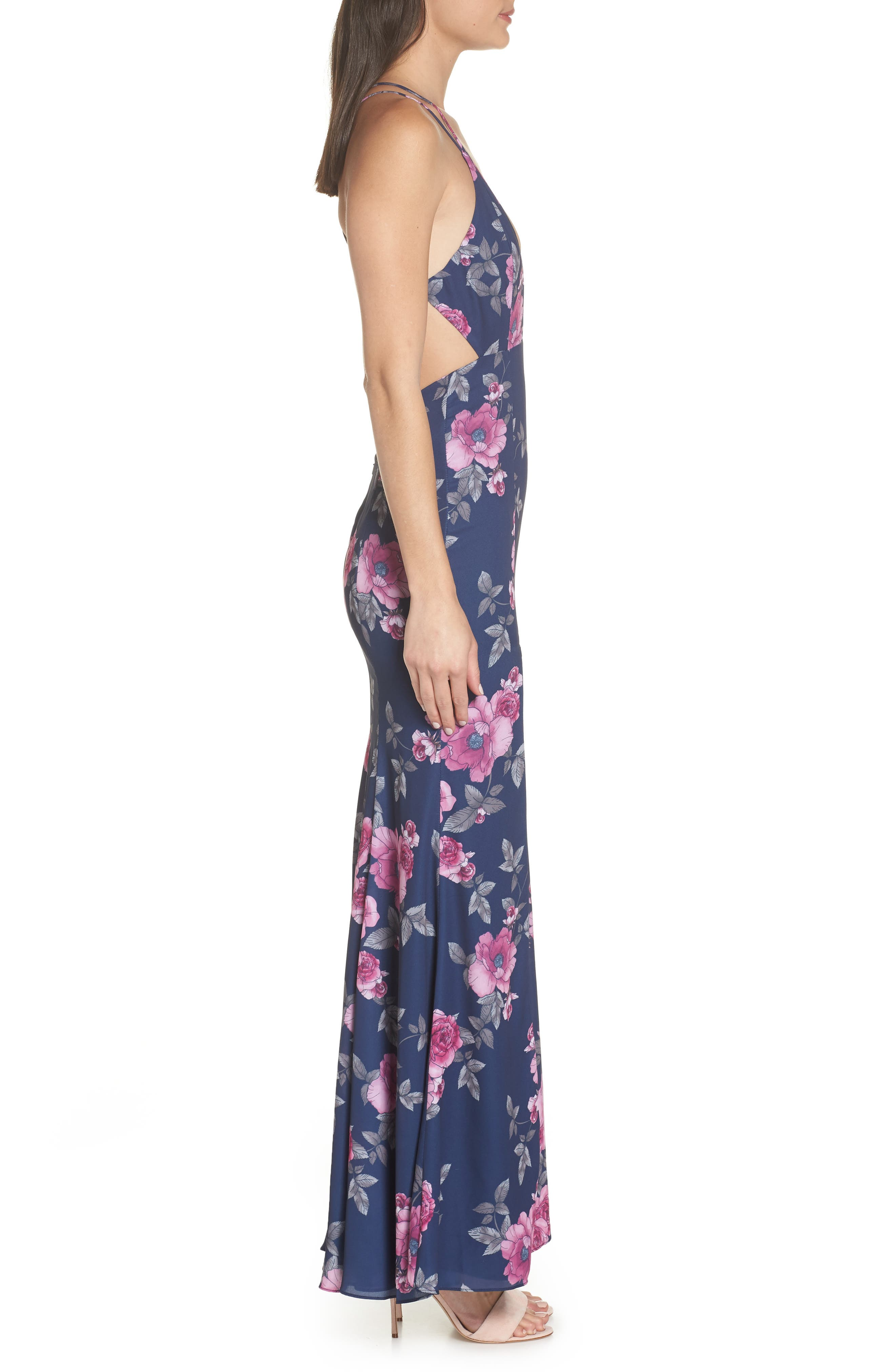 The Rowen Floral Gown,                             Alternate thumbnail 3, color,                             Midnight Flora