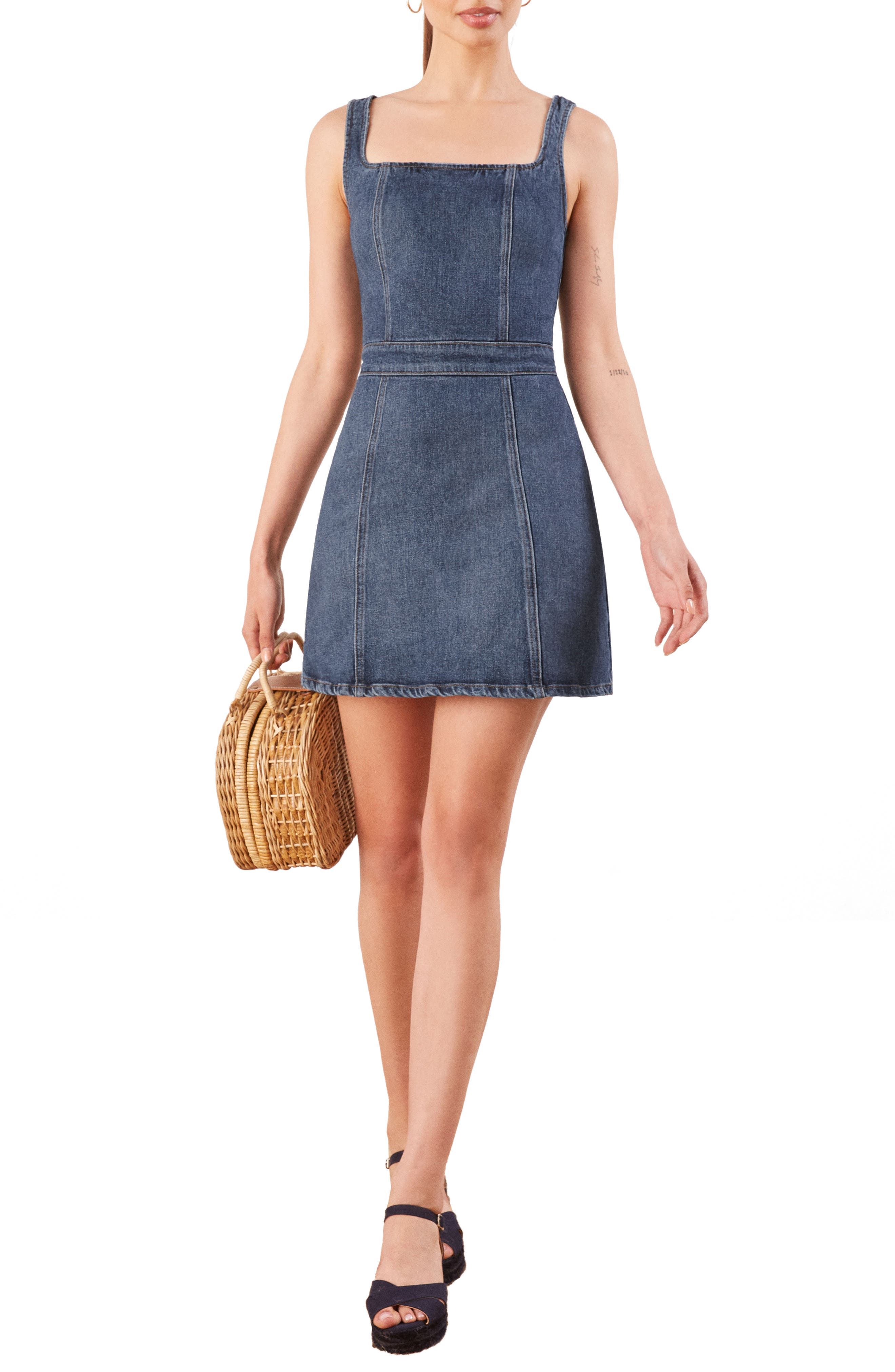 Parker Denim Pinafore Dress by Reformation