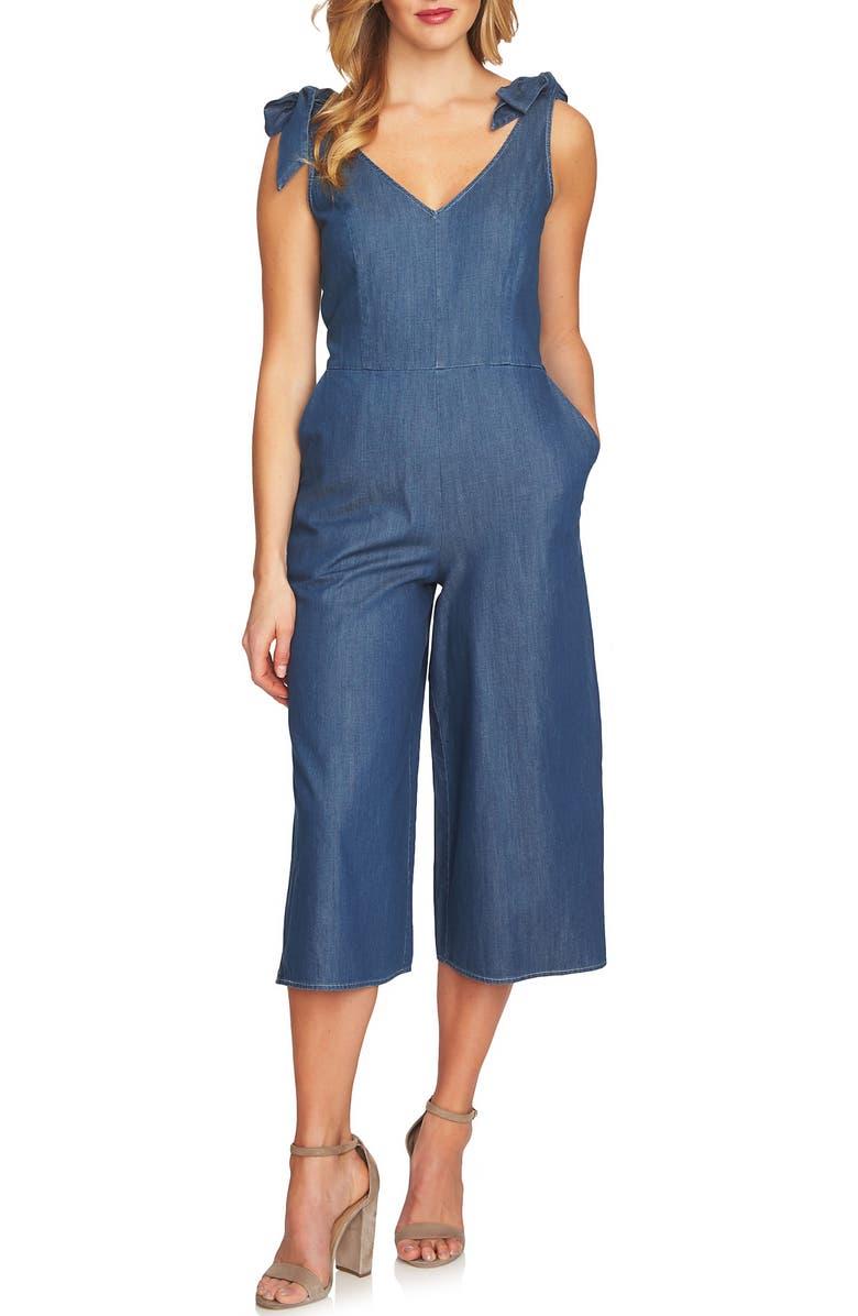 Wide Leg Crop Chambray Crop Jumpsuit