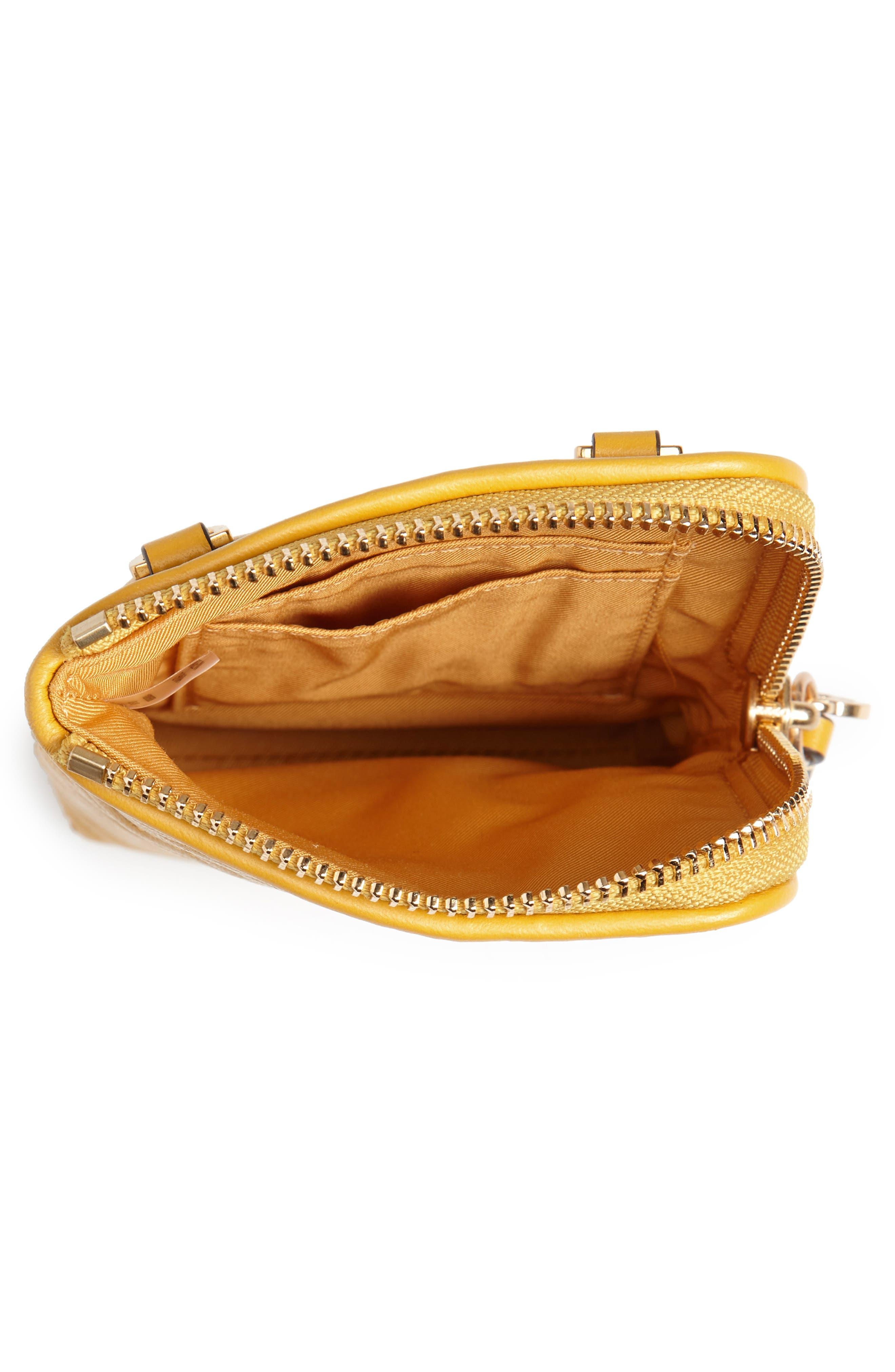 Fleming Lambskin Leather Phone Crossbody Bag,                             Alternate thumbnail 4, color,                             Daylily