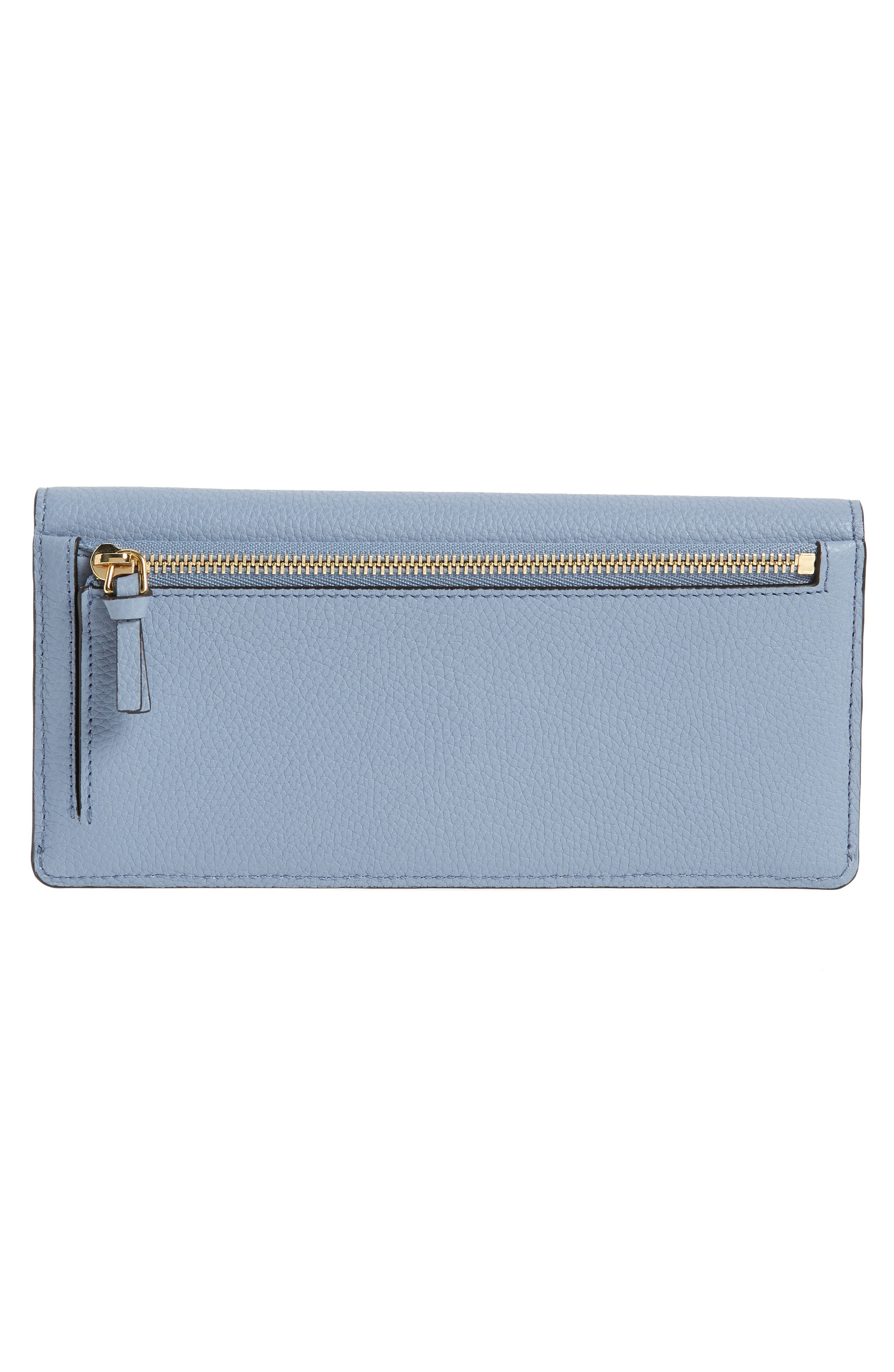 Georgia Continental Leather Wallet,                             Alternate thumbnail 3, color,                             Washed Blue